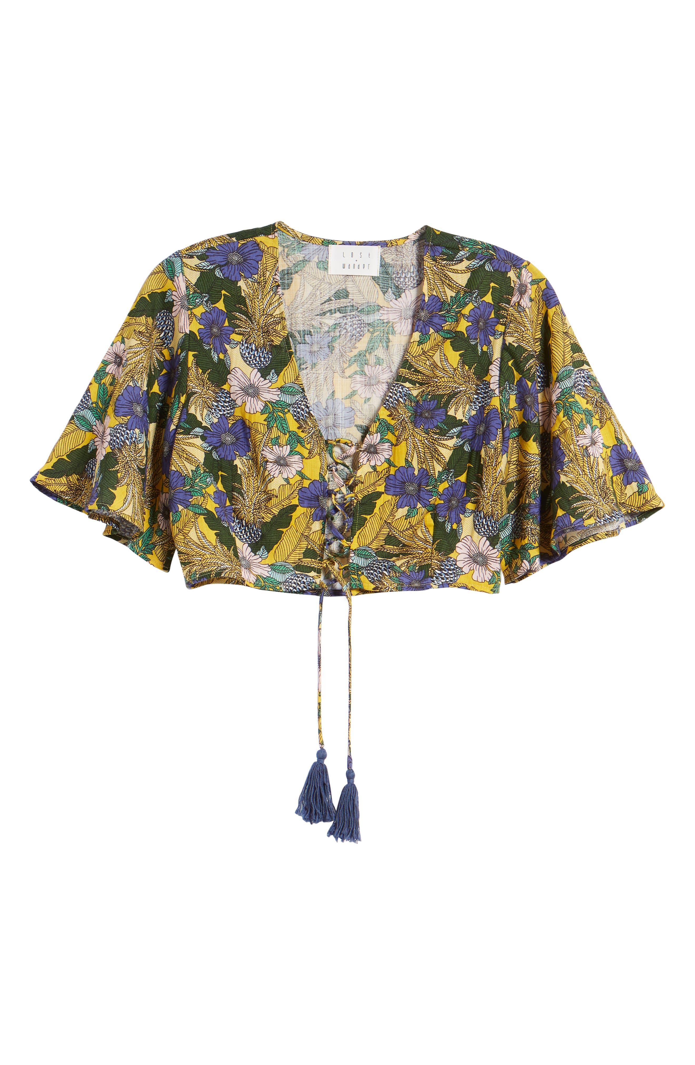 Isla Floral Print Crop Top,                             Alternate thumbnail 7, color,                             Yellow Multi