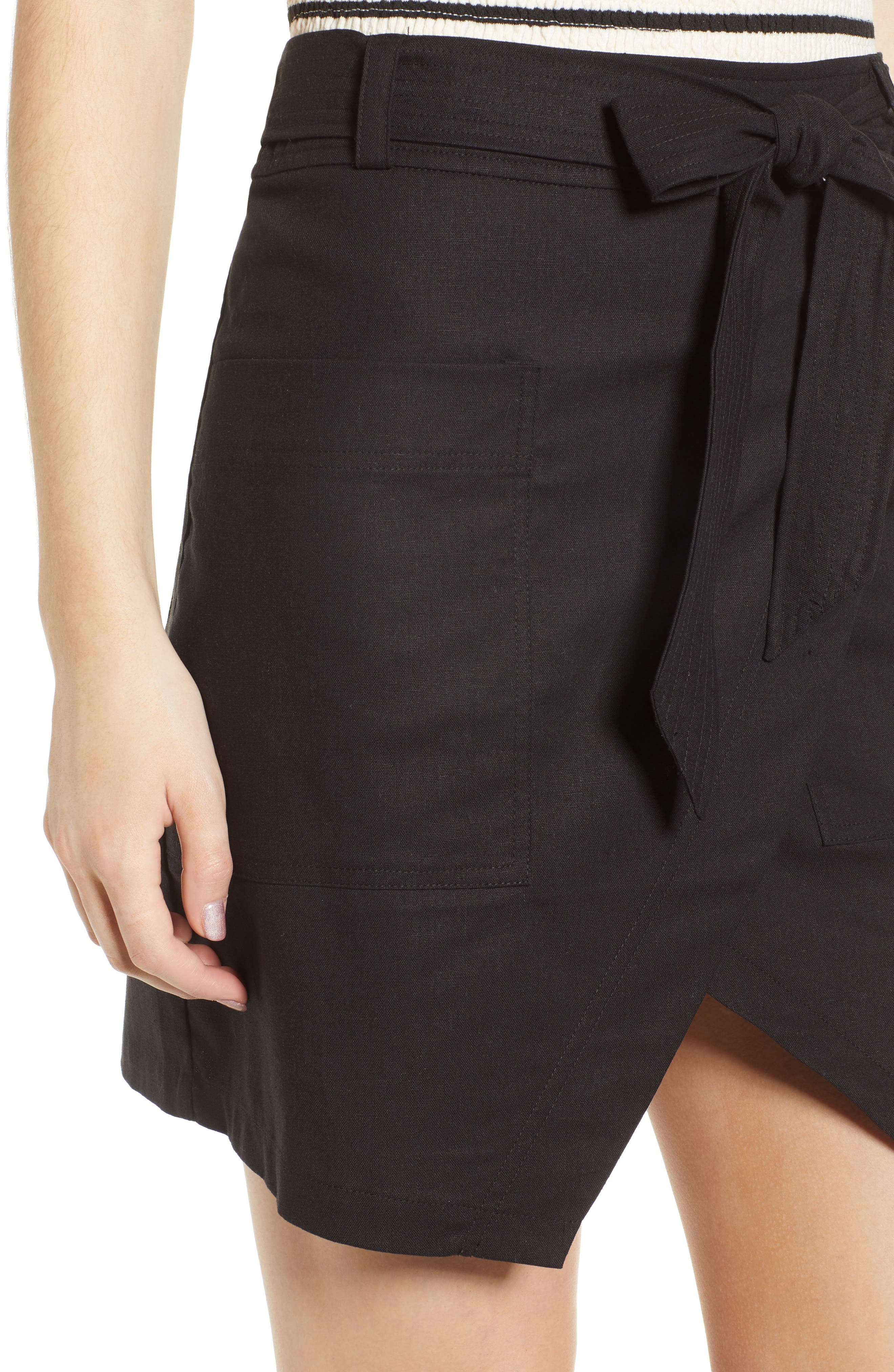 Bishop + Young Tie Front Wrap Style Skirt,                             Alternate thumbnail 4, color,                             Black
