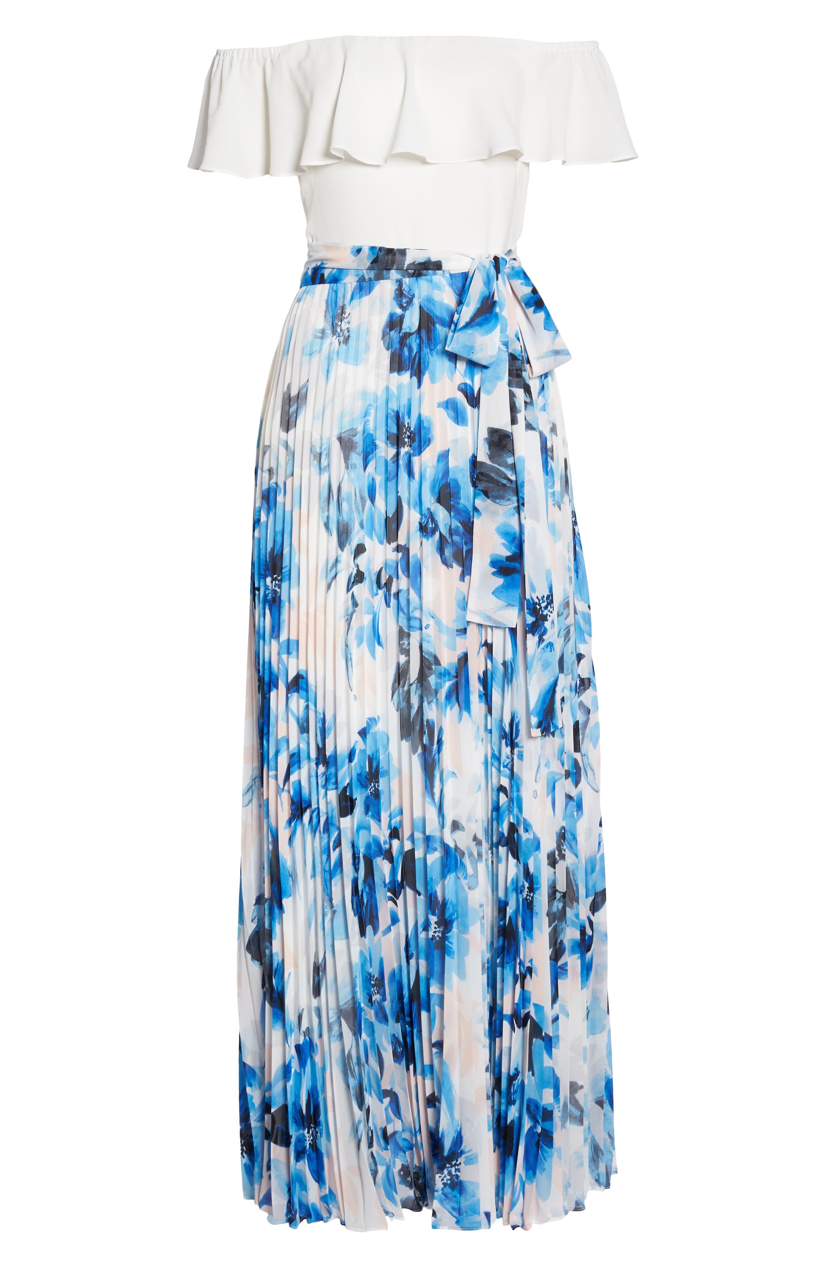 Ruffle Off the Shoulder Maxi Dress,                             Alternate thumbnail 7, color,                             Blue