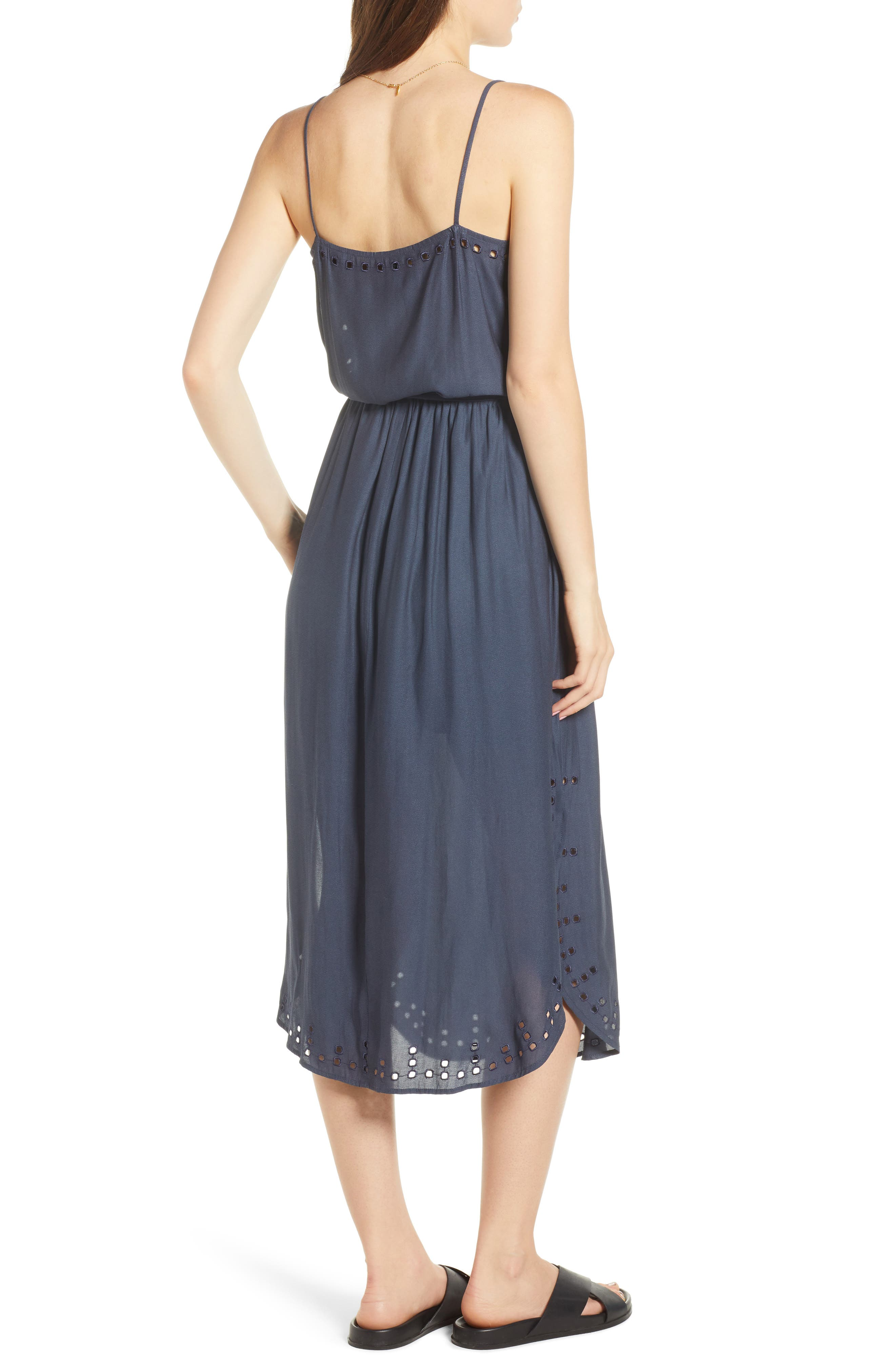 Strappy Cutout Midi Dress,                             Alternate thumbnail 2, color,                             Night