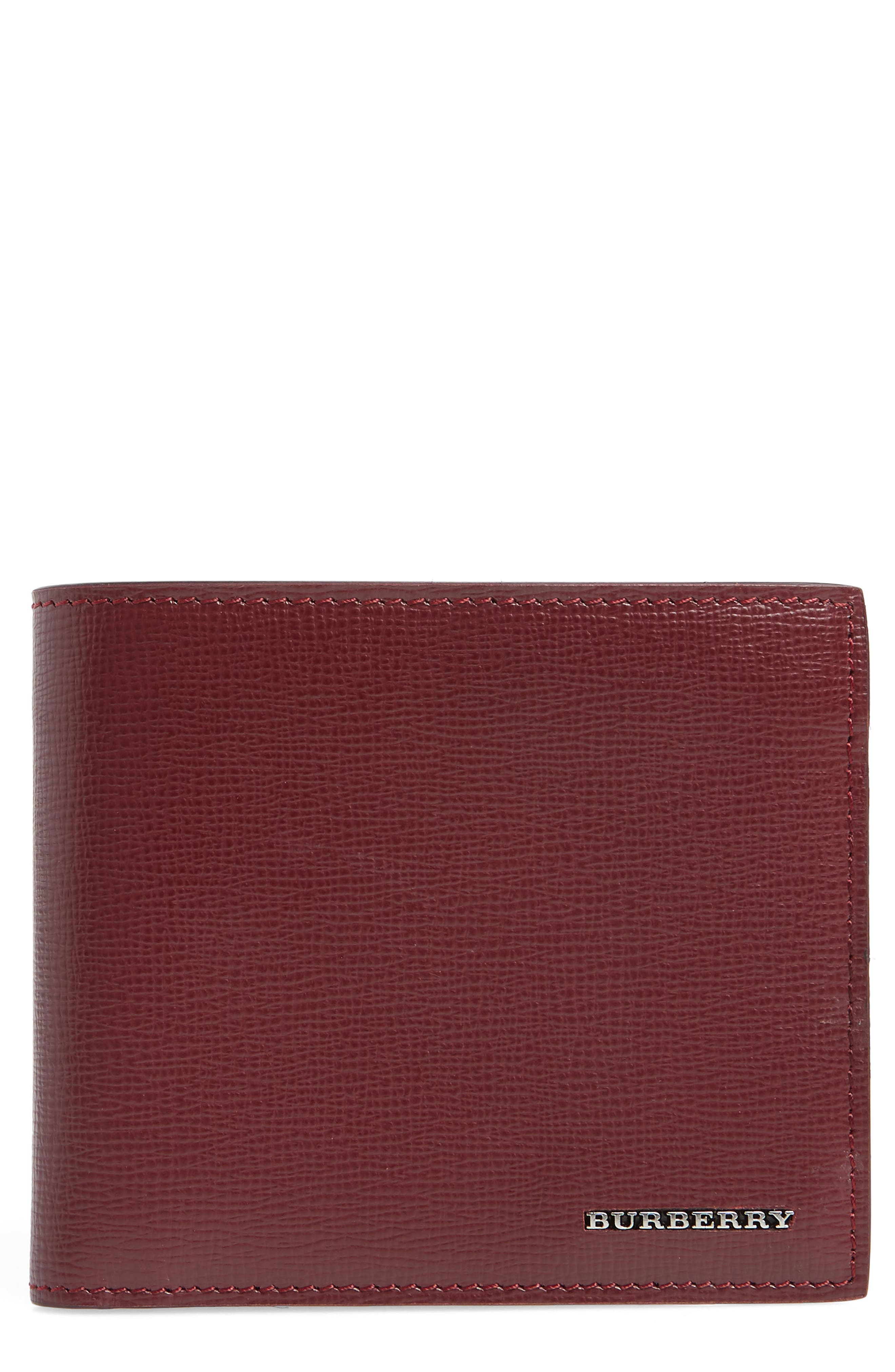 Leather Bifold Wallet,                             Main thumbnail 1, color,                             Burgundy Red