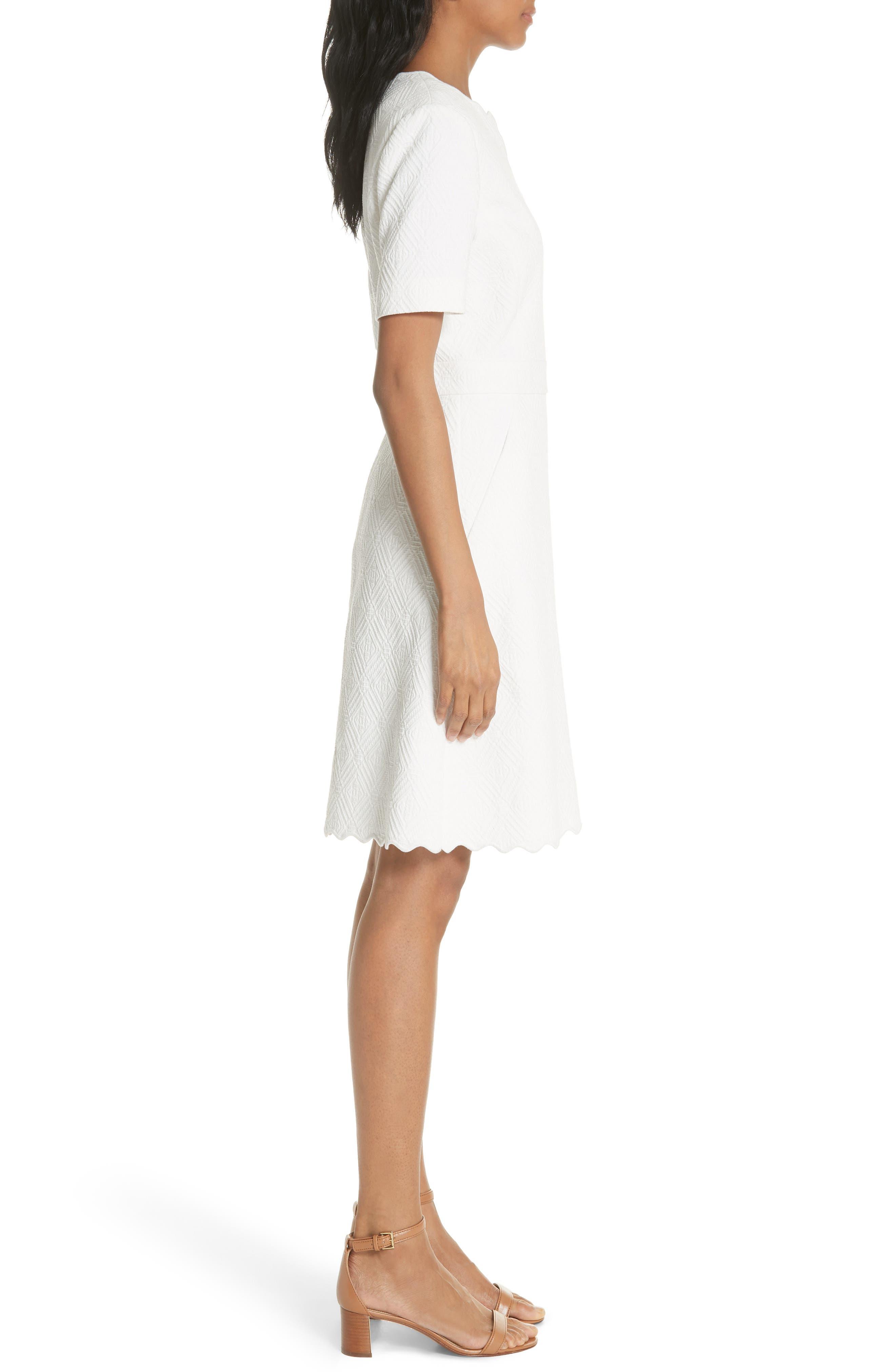 Bailey Scallop Cotton Dress,                             Alternate thumbnail 3, color,                             White