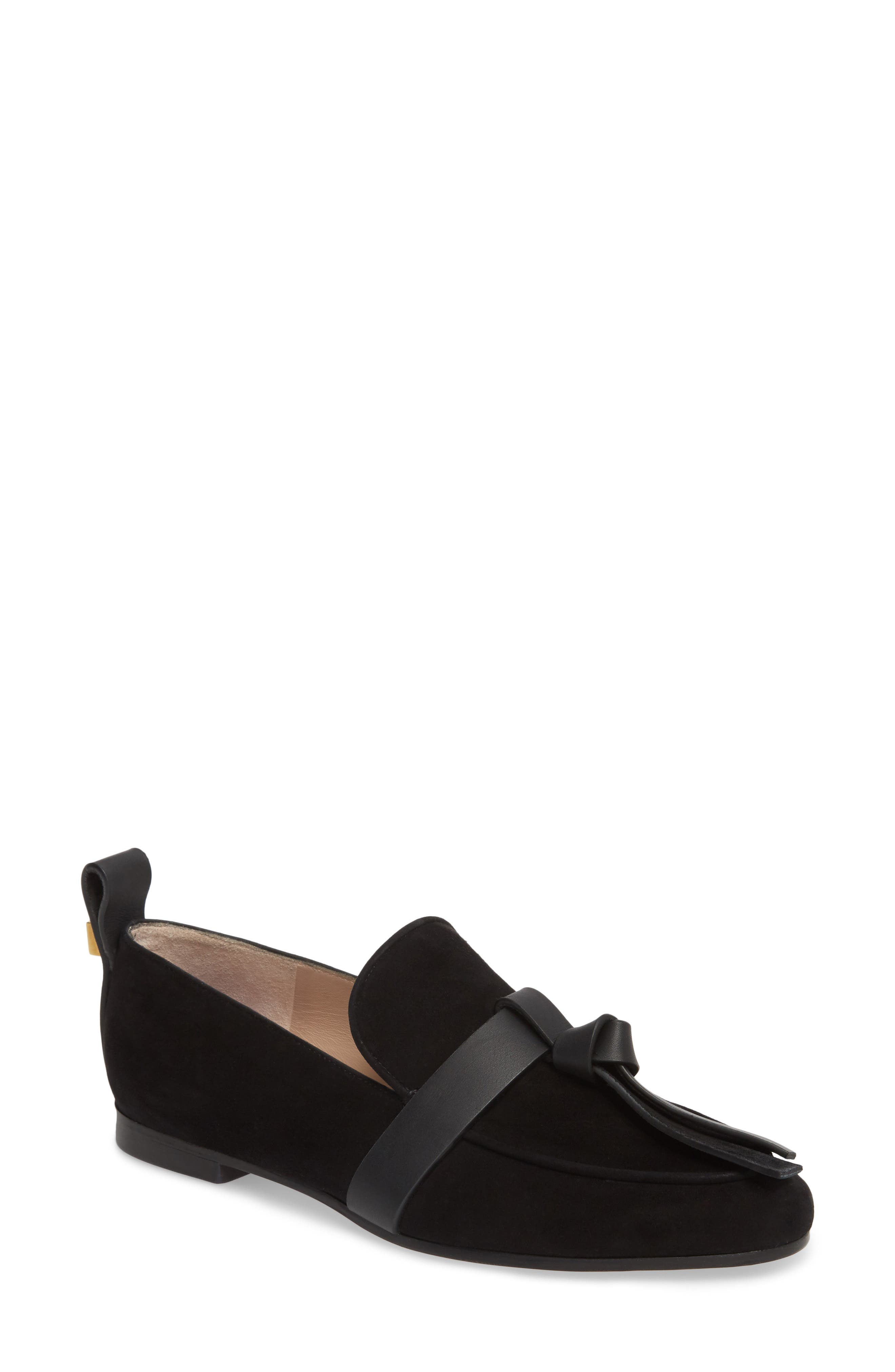 Prescott Knotted Loafer,                             Main thumbnail 1, color,                             Black Suede