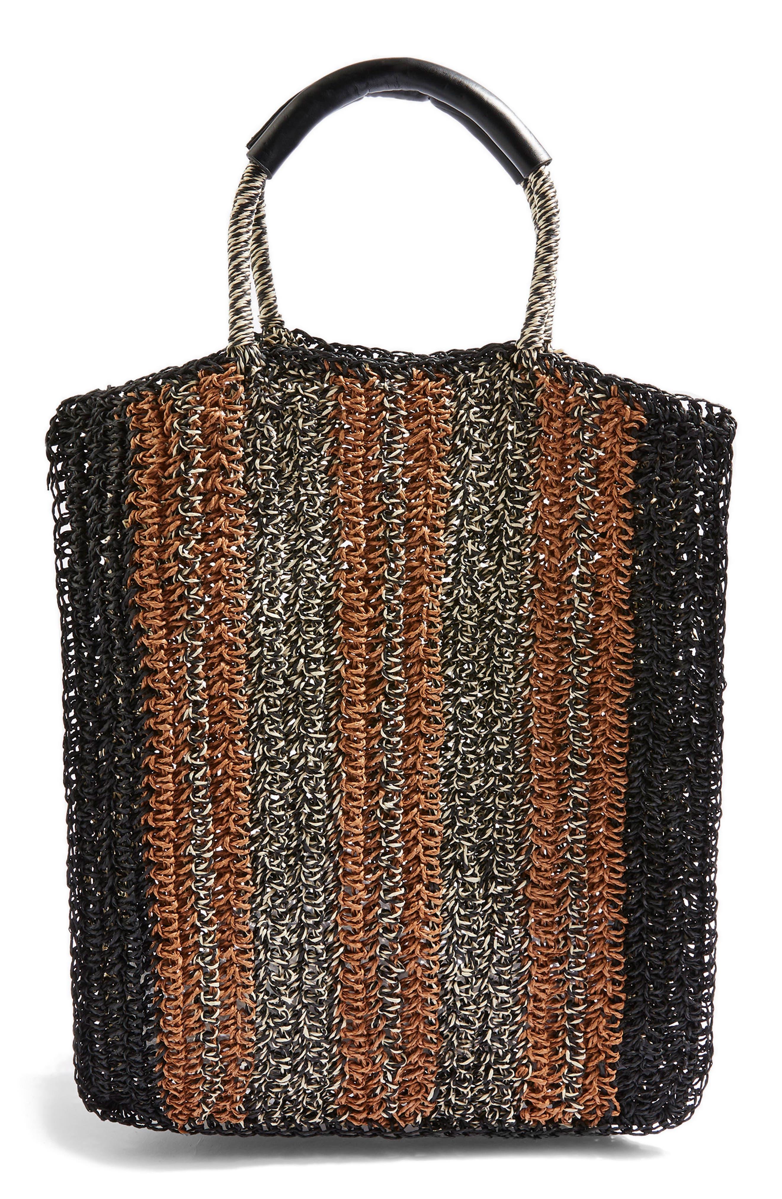 Bath Stripe Straw Tote Bag,                         Main,                         color, Black Multi