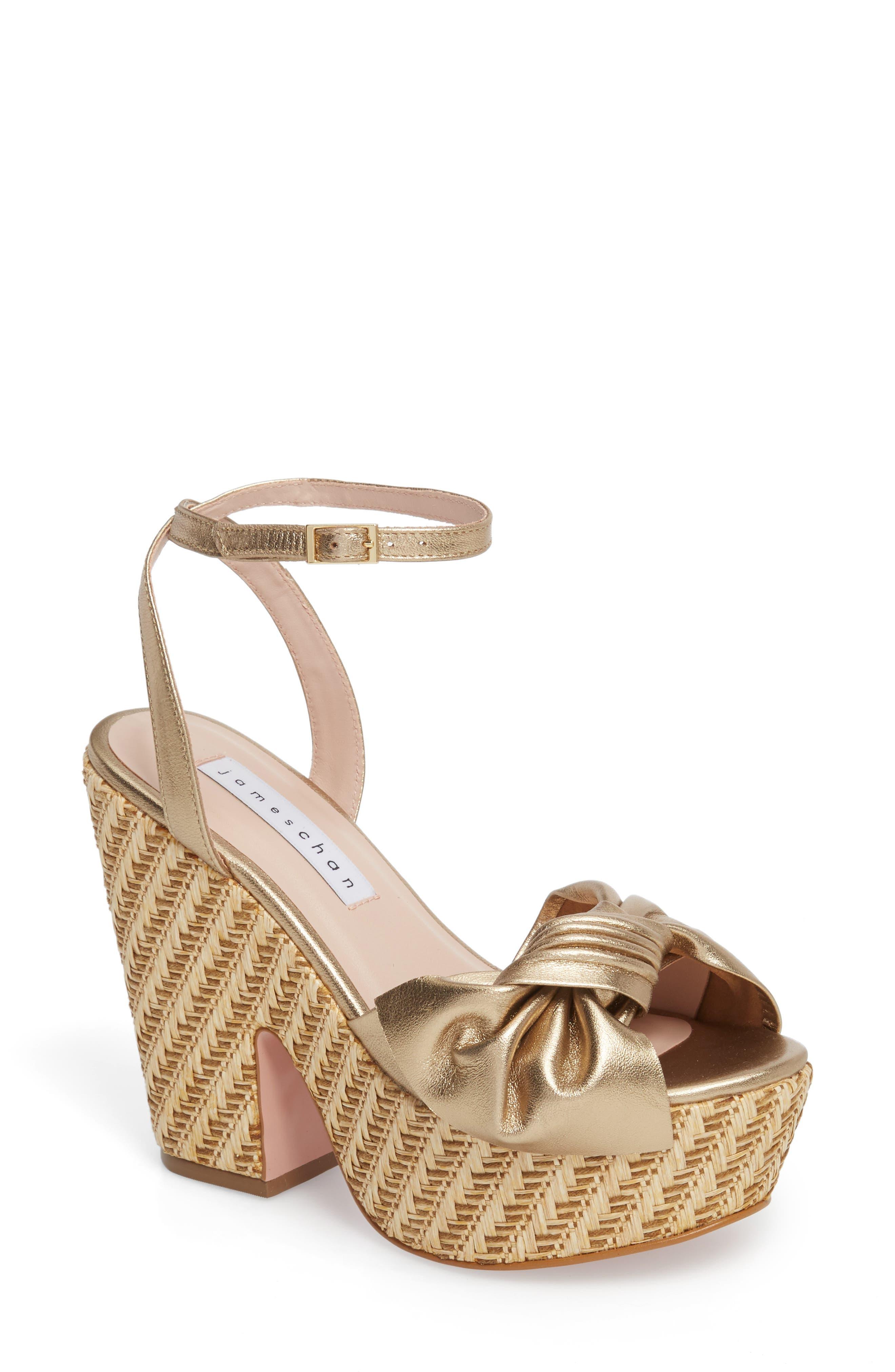 Pinky Platform Sandal,                         Main,                         color, Dark Gold Suede