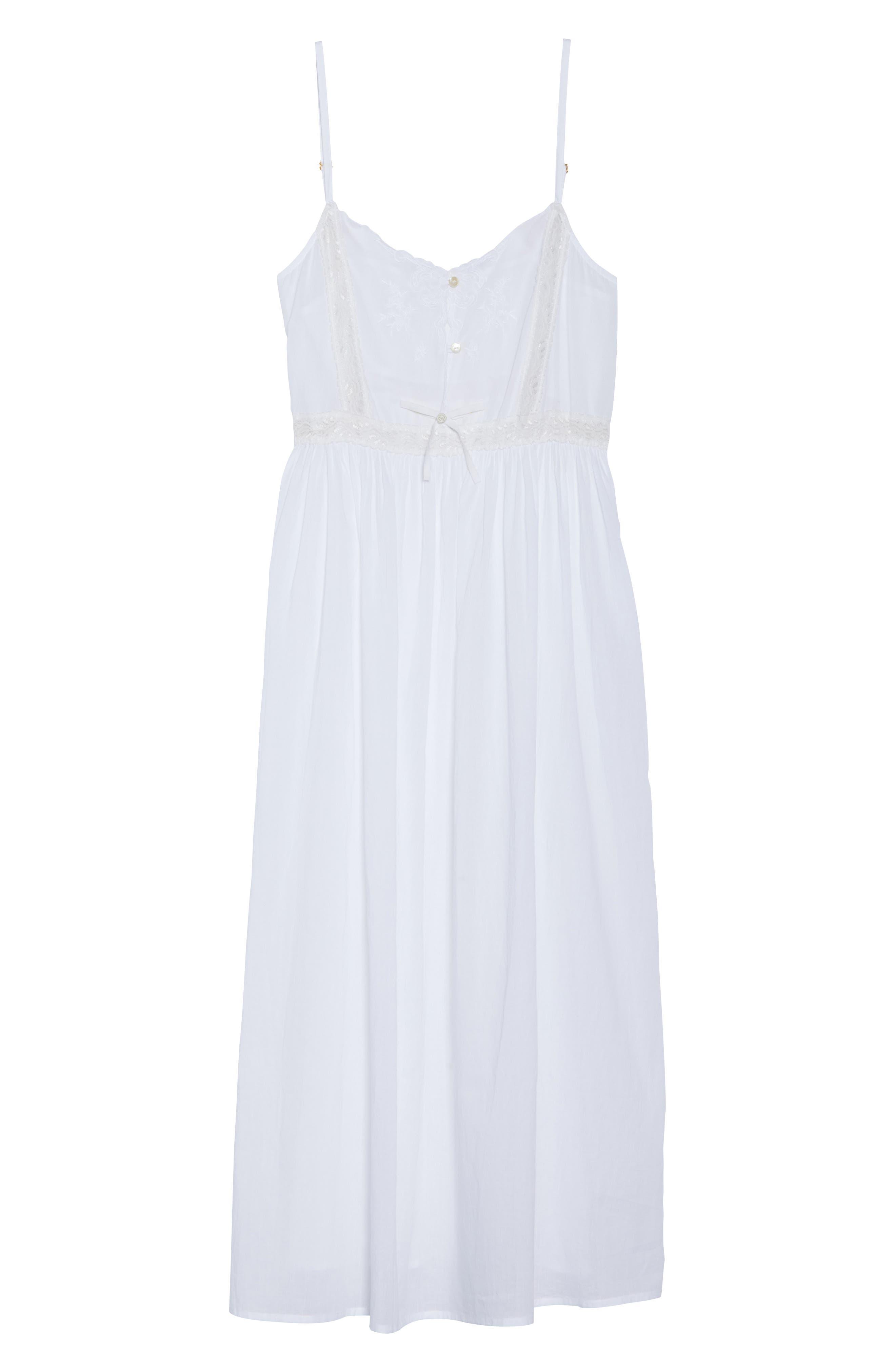 Lace Trim Nightgown,                             Alternate thumbnail 4, color,                             White
