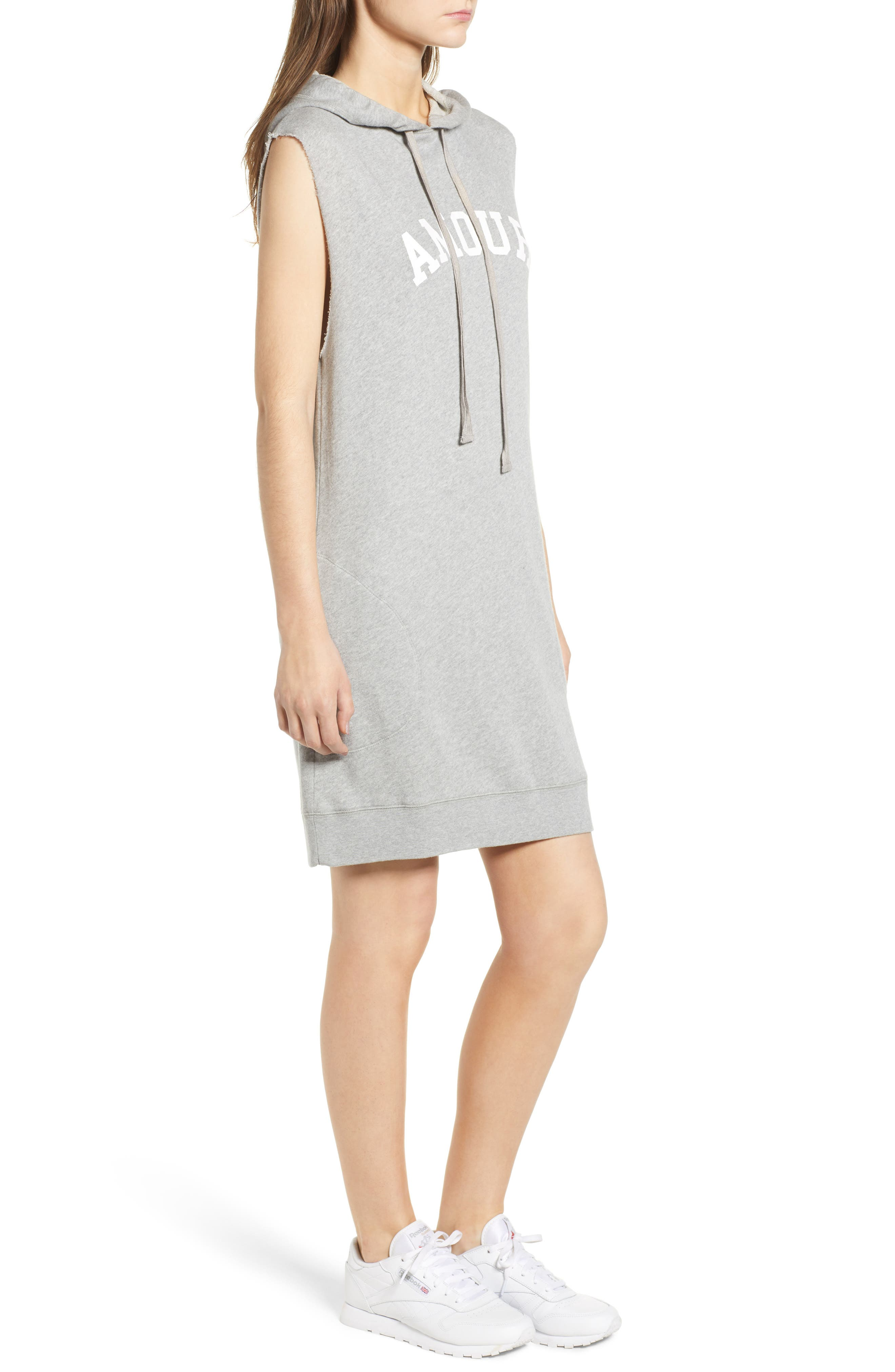 Sia Bis Hooded Dress,                             Alternate thumbnail 3, color,                             Melange Grey