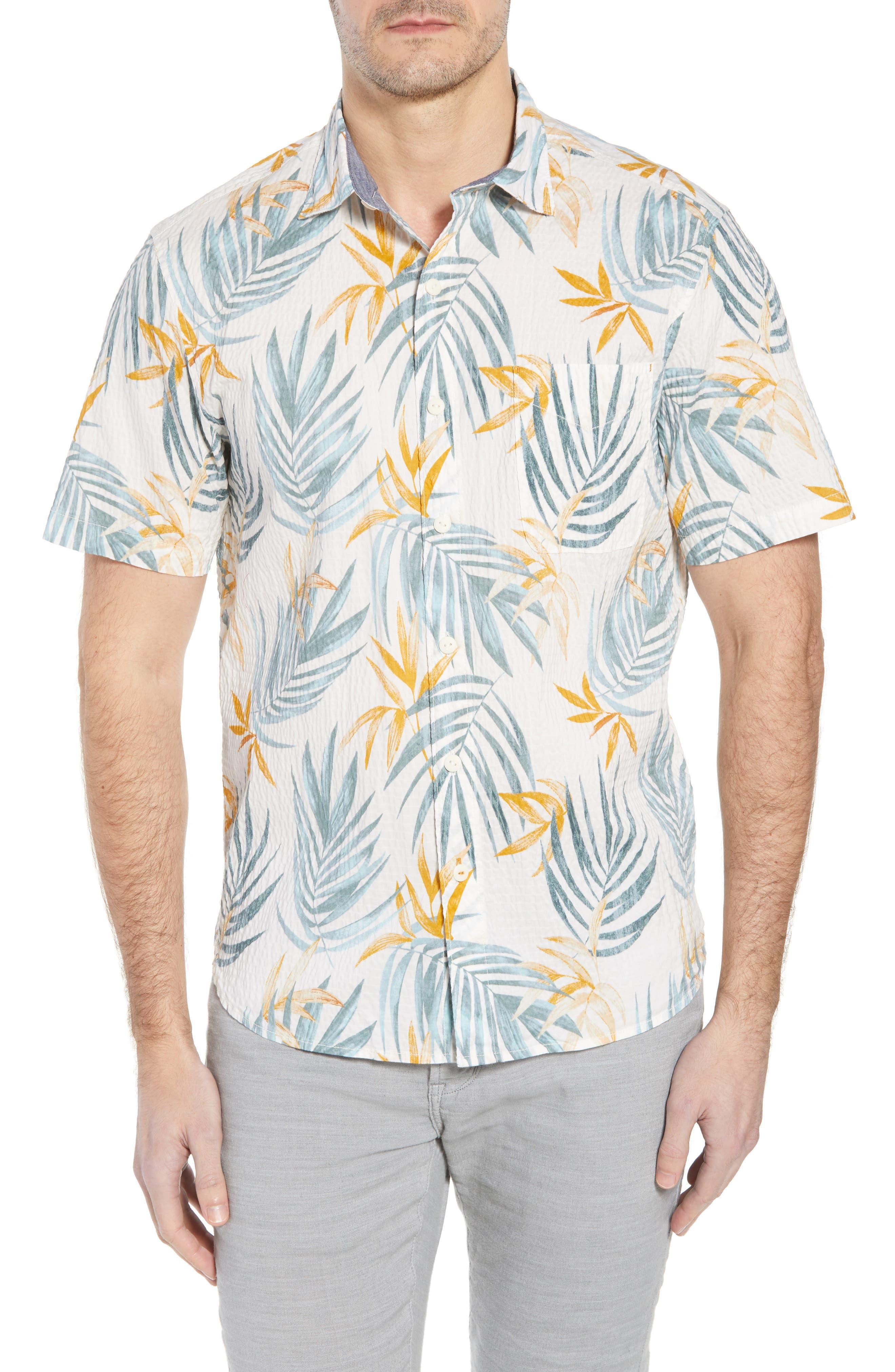 Fiesta Fronds Seersucker Sport Shirt,                             Main thumbnail 1, color,                             Coconut Cream