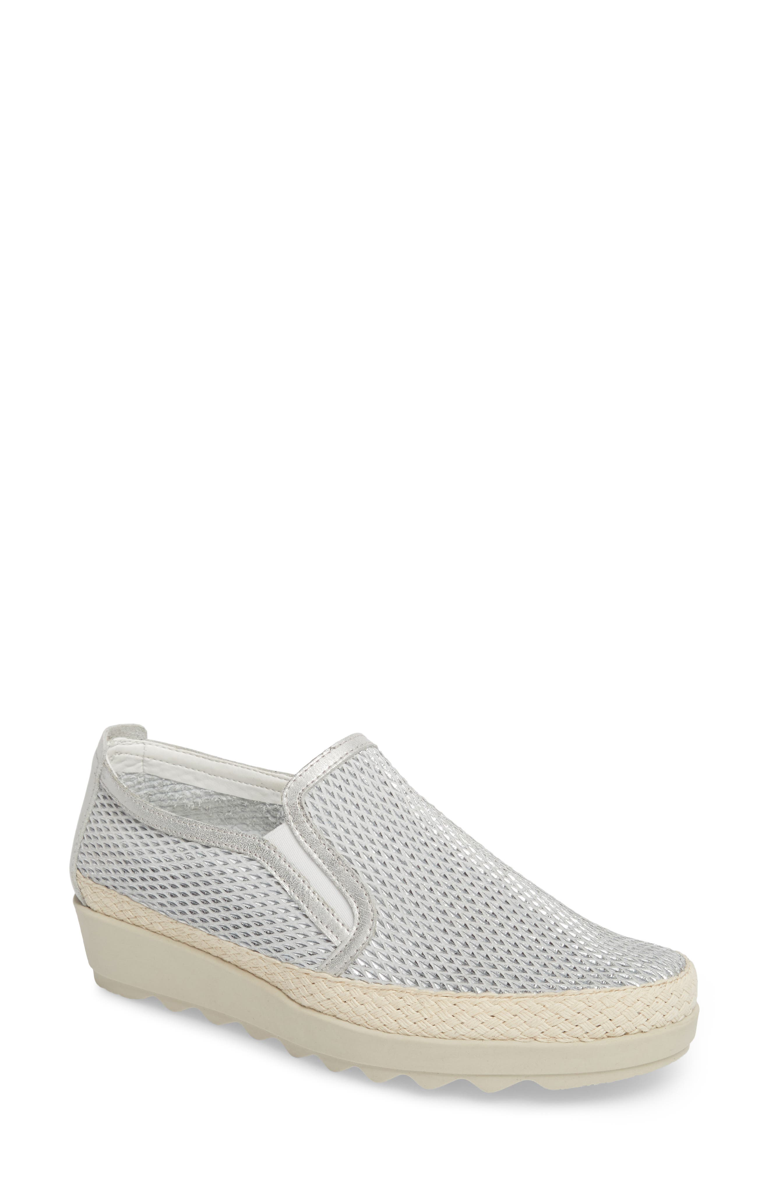 Call Me Perforated Slip-On Sneaker,                             Main thumbnail 1, color,                             White/ Silver Leather