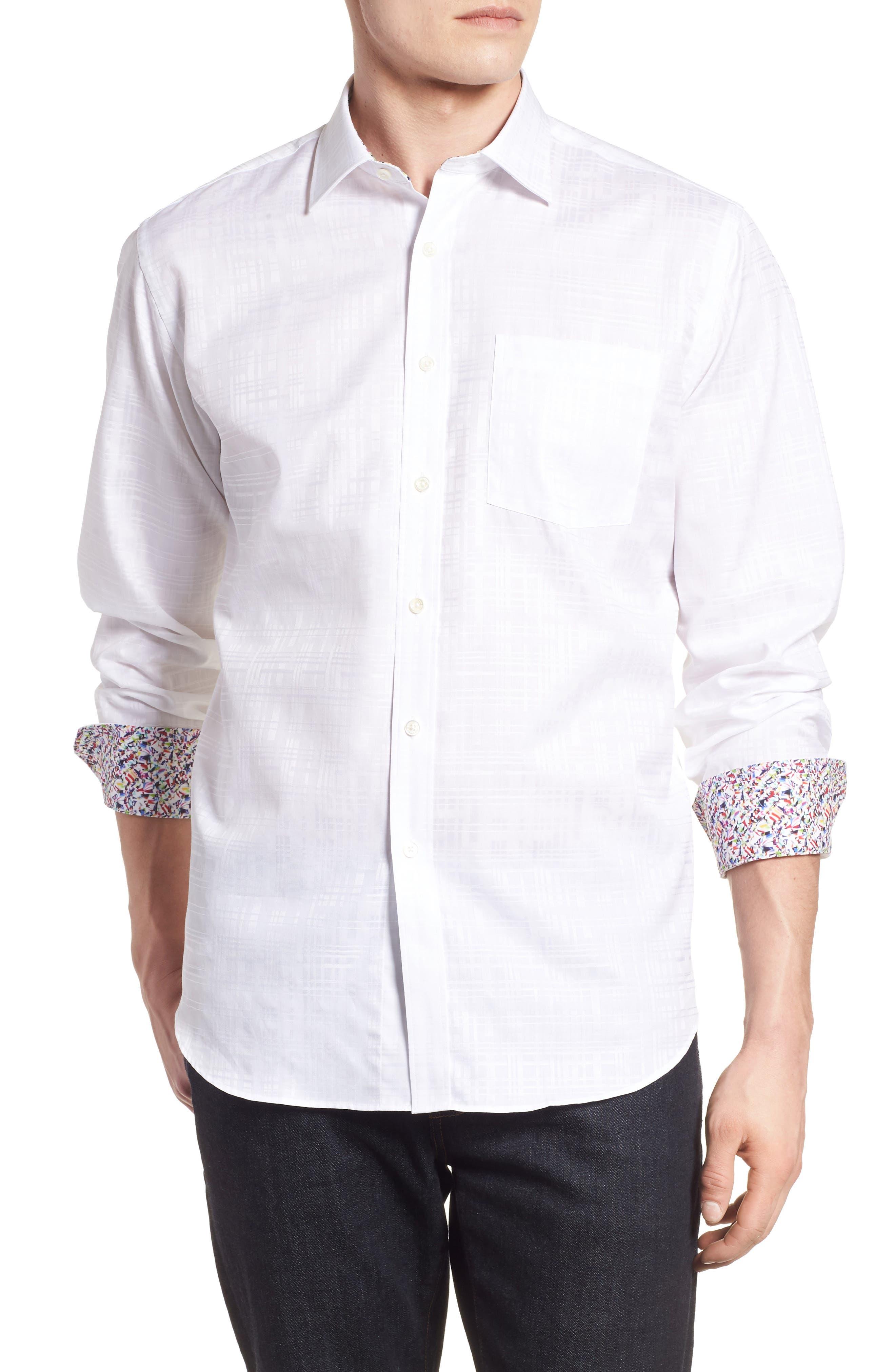 Classic Fit Tonal Check Sport Shirt,                         Main,                         color, White