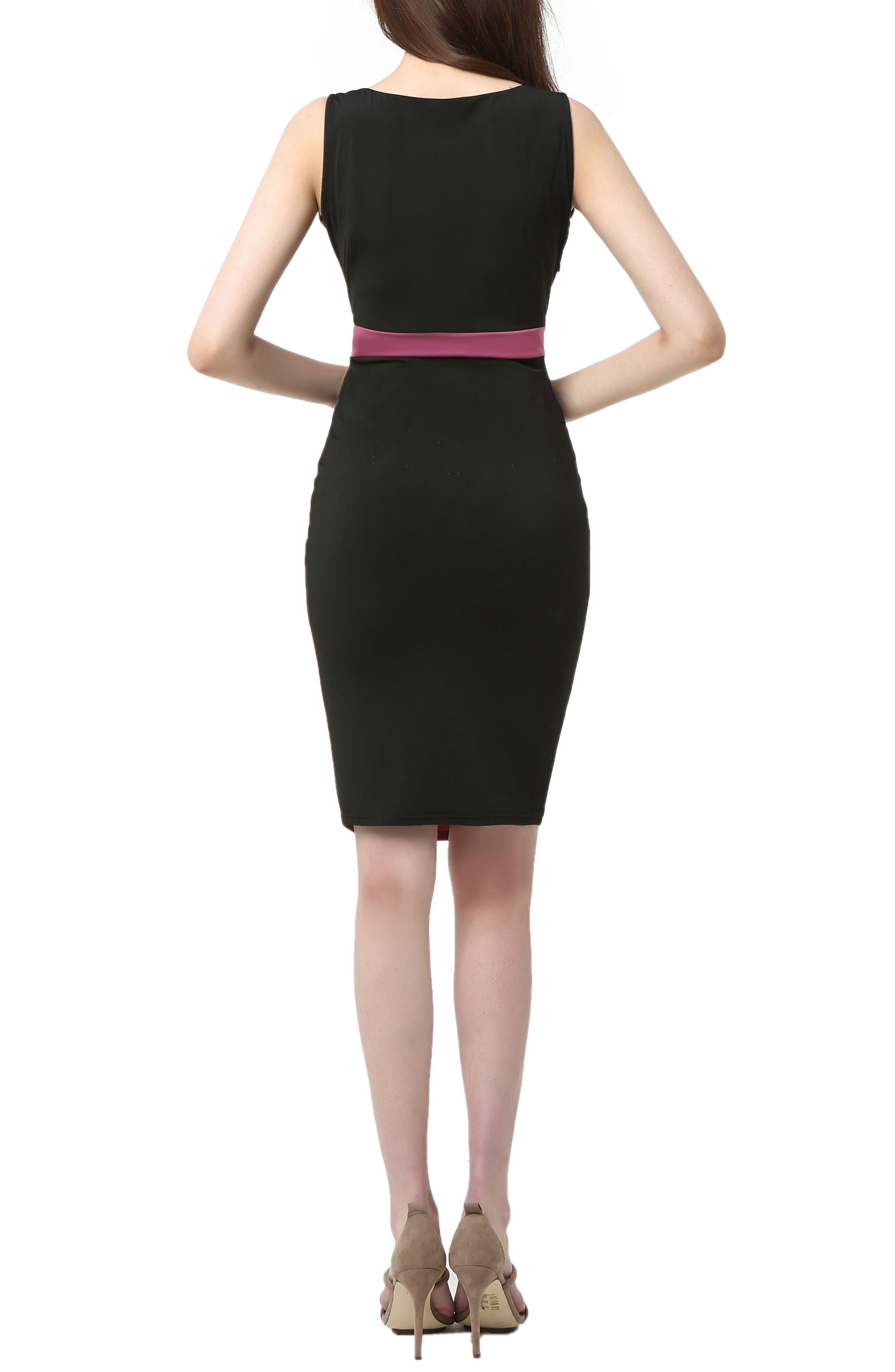 Sophia Colorblock Body-Con Maternity Dress,                             Alternate thumbnail 2, color,                             Black/ Rose