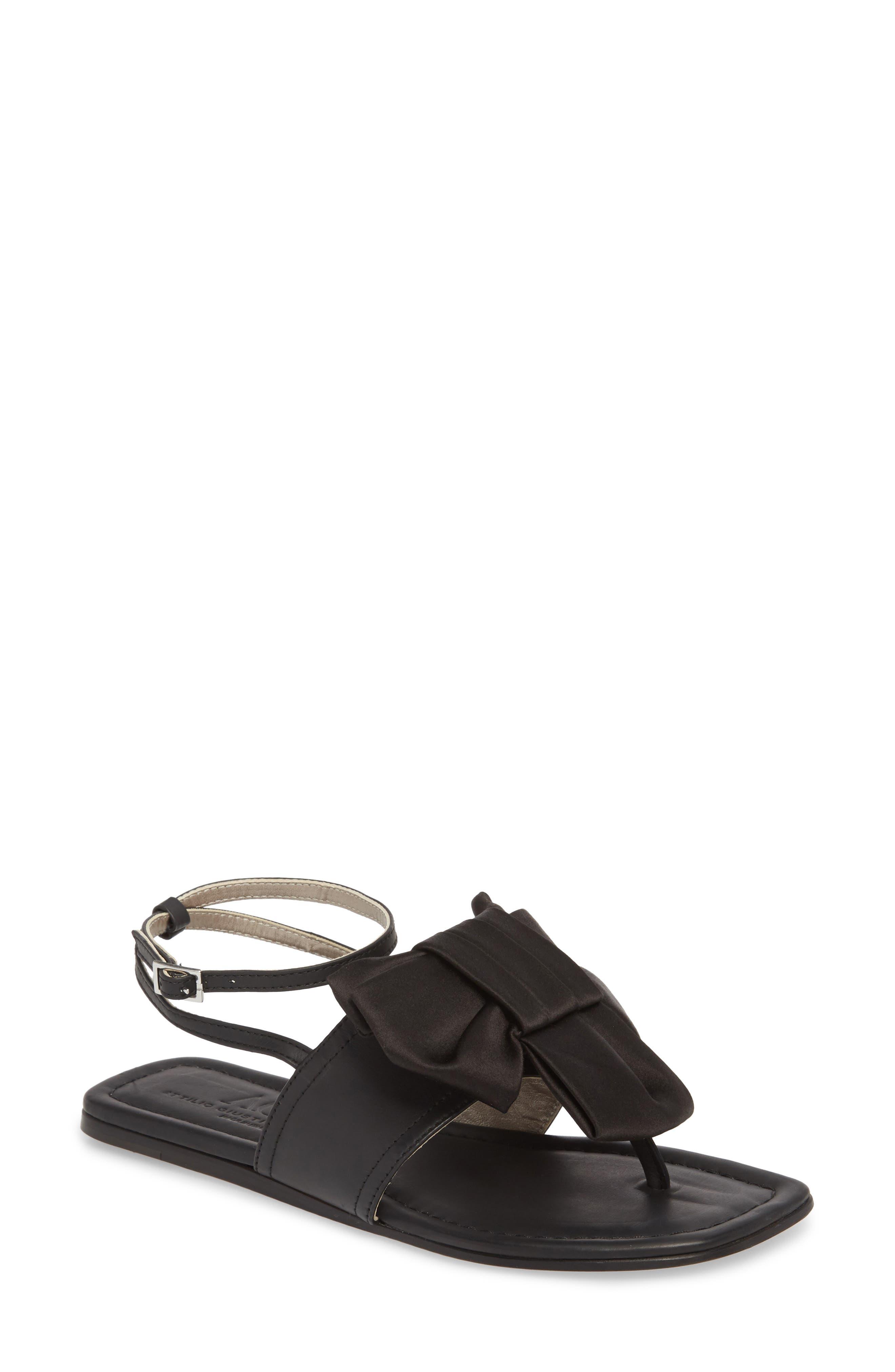 Ankle Strap Sandal,                             Main thumbnail 1, color,                             Black Leather