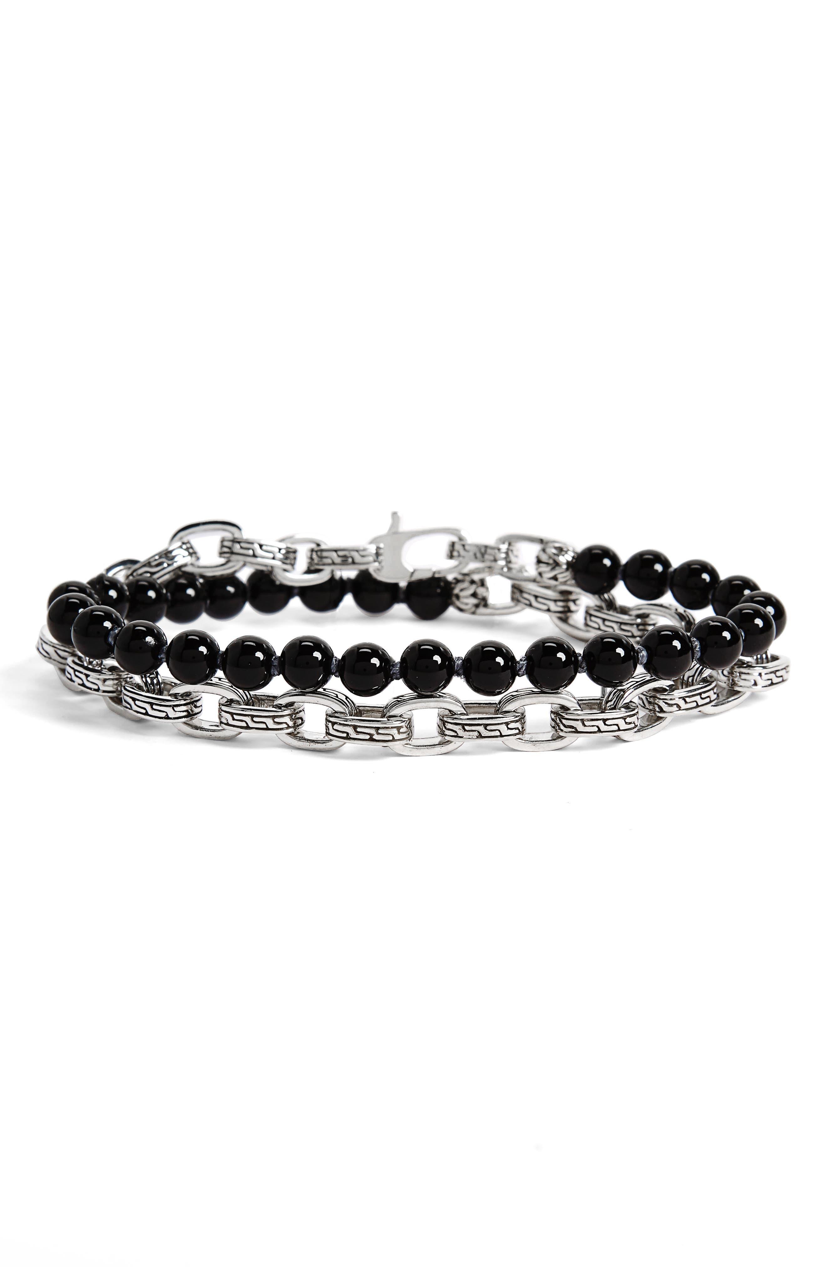 Classic Chain Black Onyx Double Wrap Bracelet,                         Main,                         color, Black Onyx/ Silver