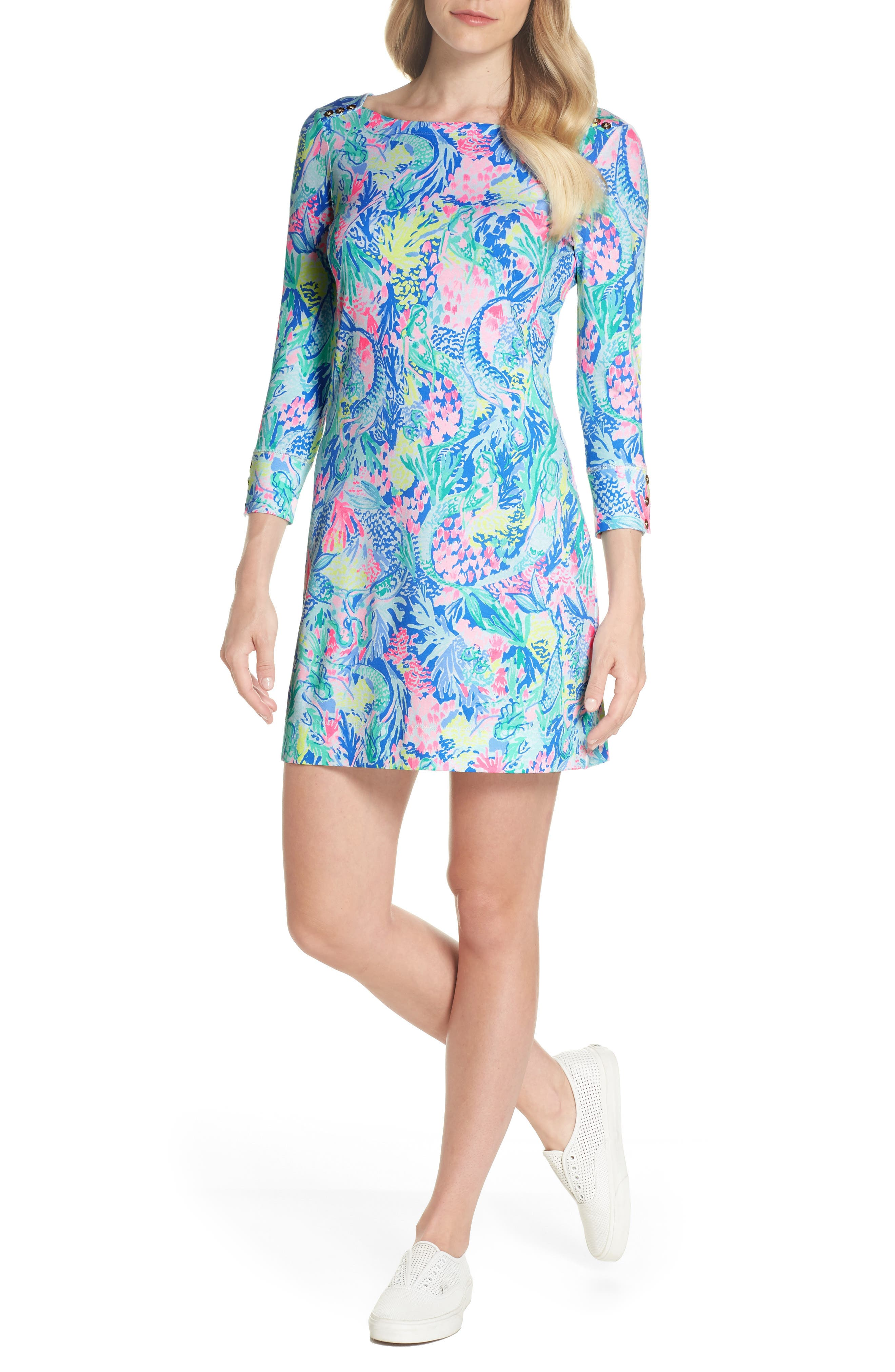 Sophie UPF 50+ Shift Dress,                         Main,                         color, Multi Mermaids Cove