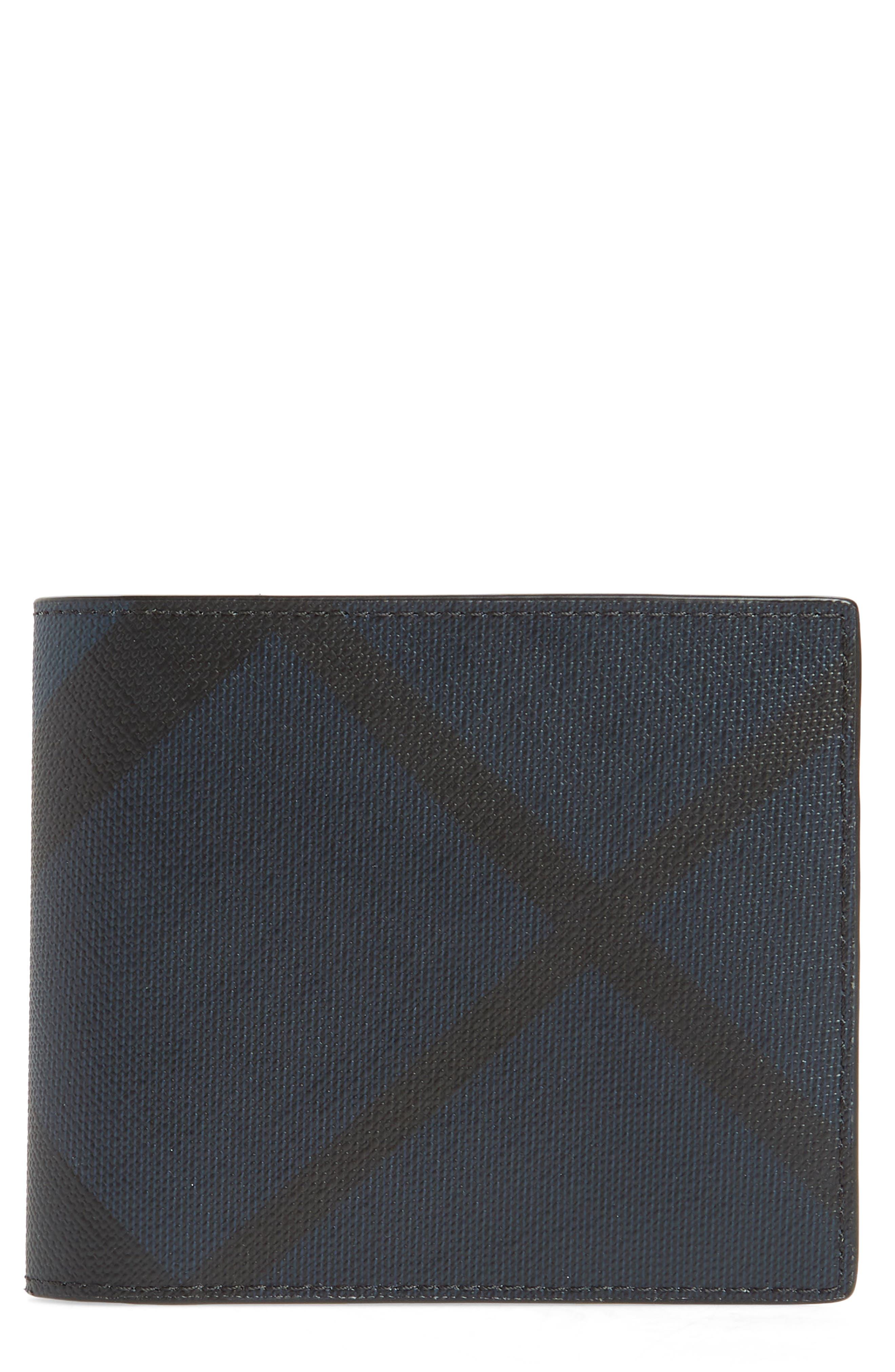 Ronan Check Billfold Wallet,                         Main,                         color, Navy/ Black