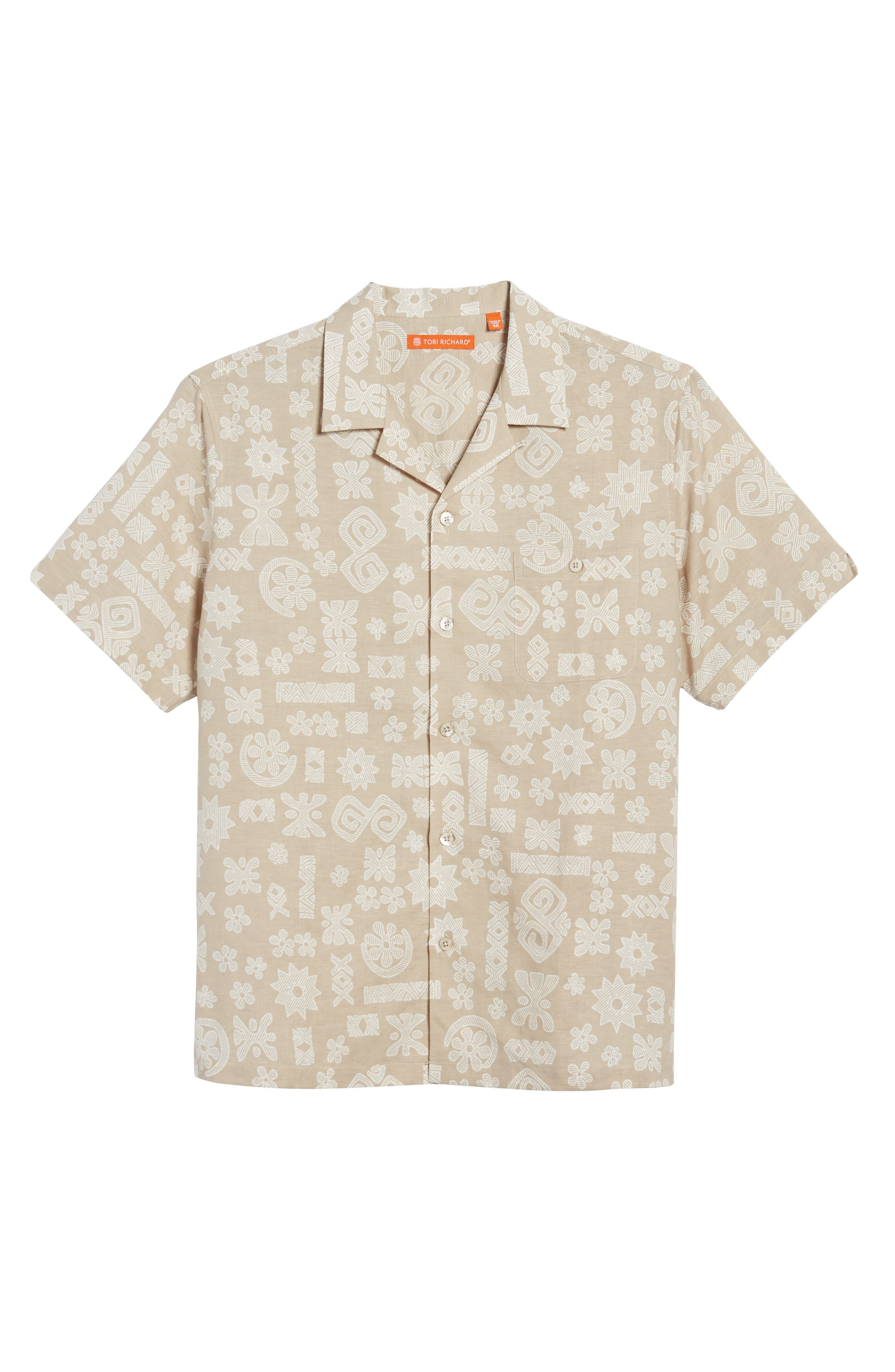 Tapa Twist Trim Fit Linen & Cotton Camp Shirt,                             Alternate thumbnail 6, color,                             Tan