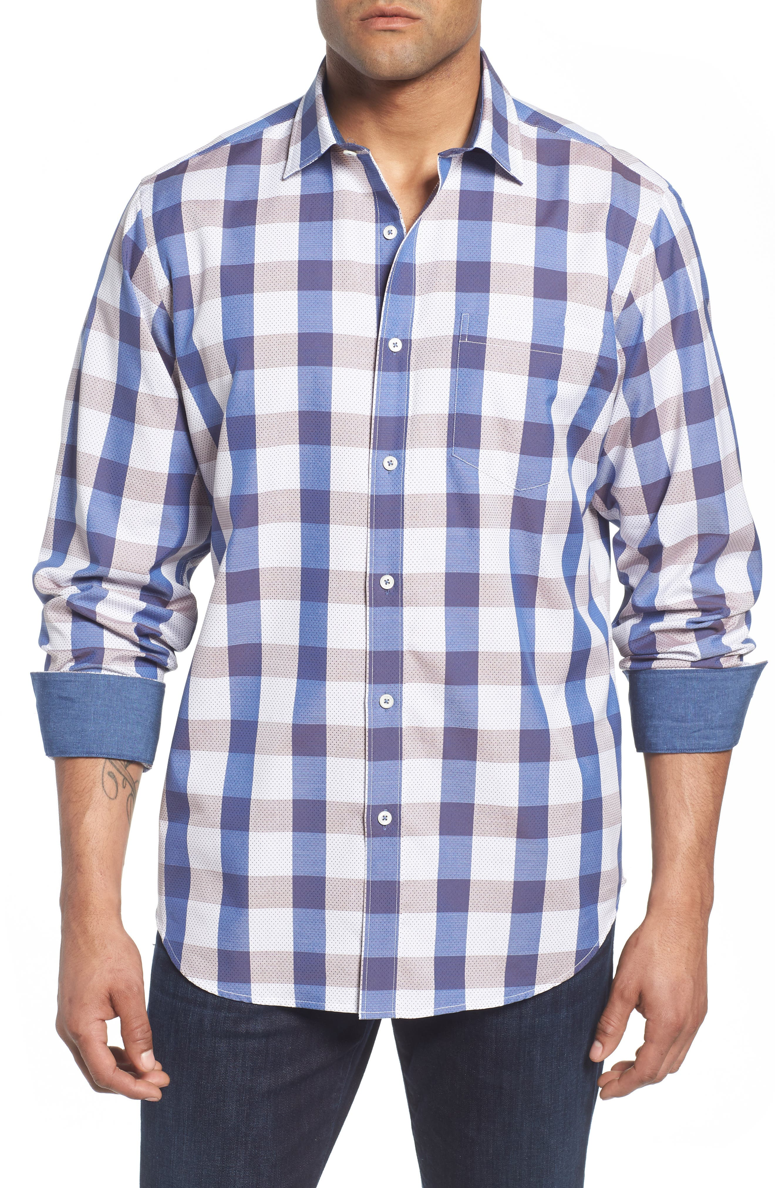 Classic Fit Check on Dot Sport Shirt,                         Main,                         color, Clay