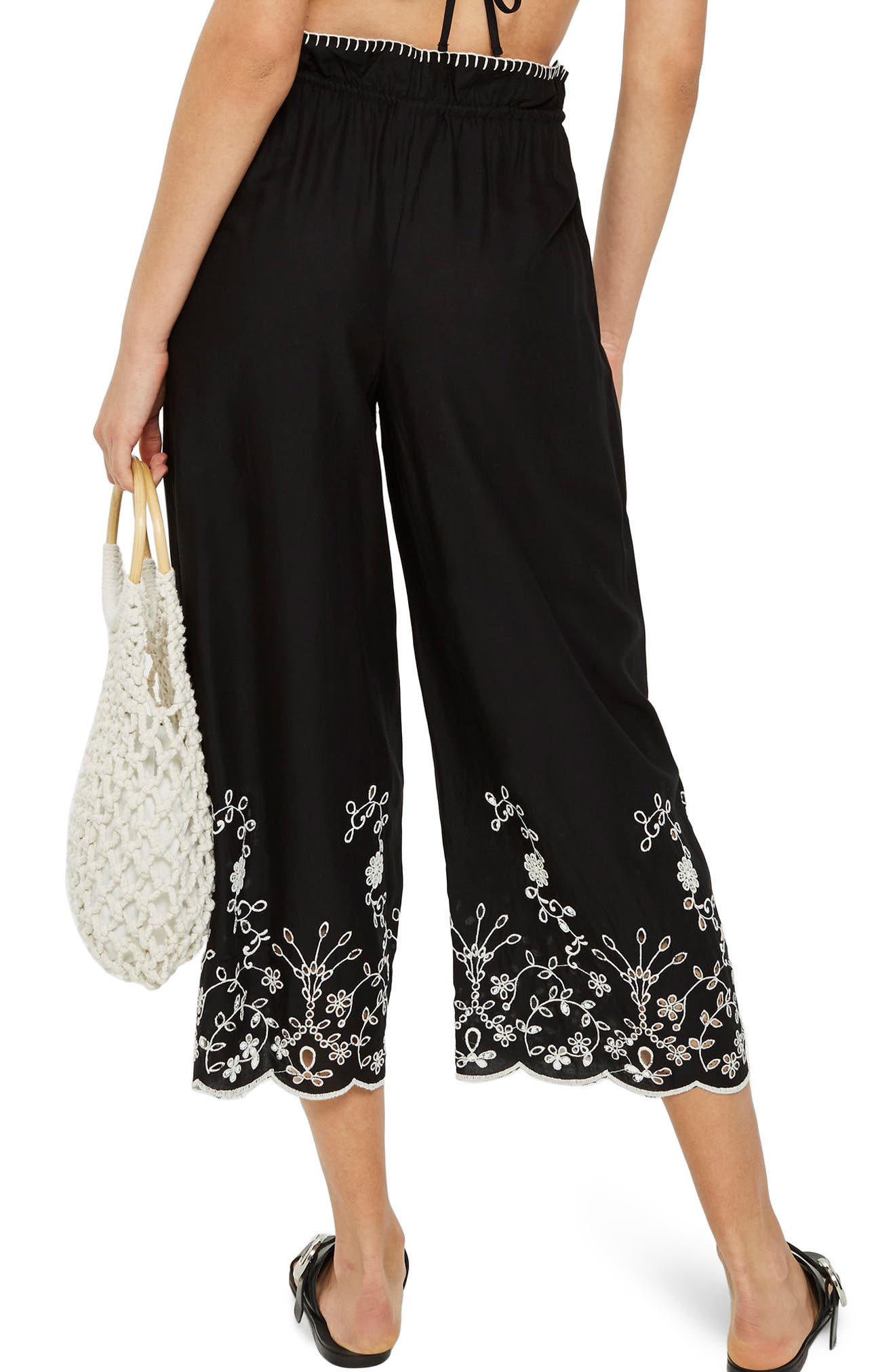 Embroidered Crop Wide Trousers,                             Alternate thumbnail 2, color,                             Black Multi