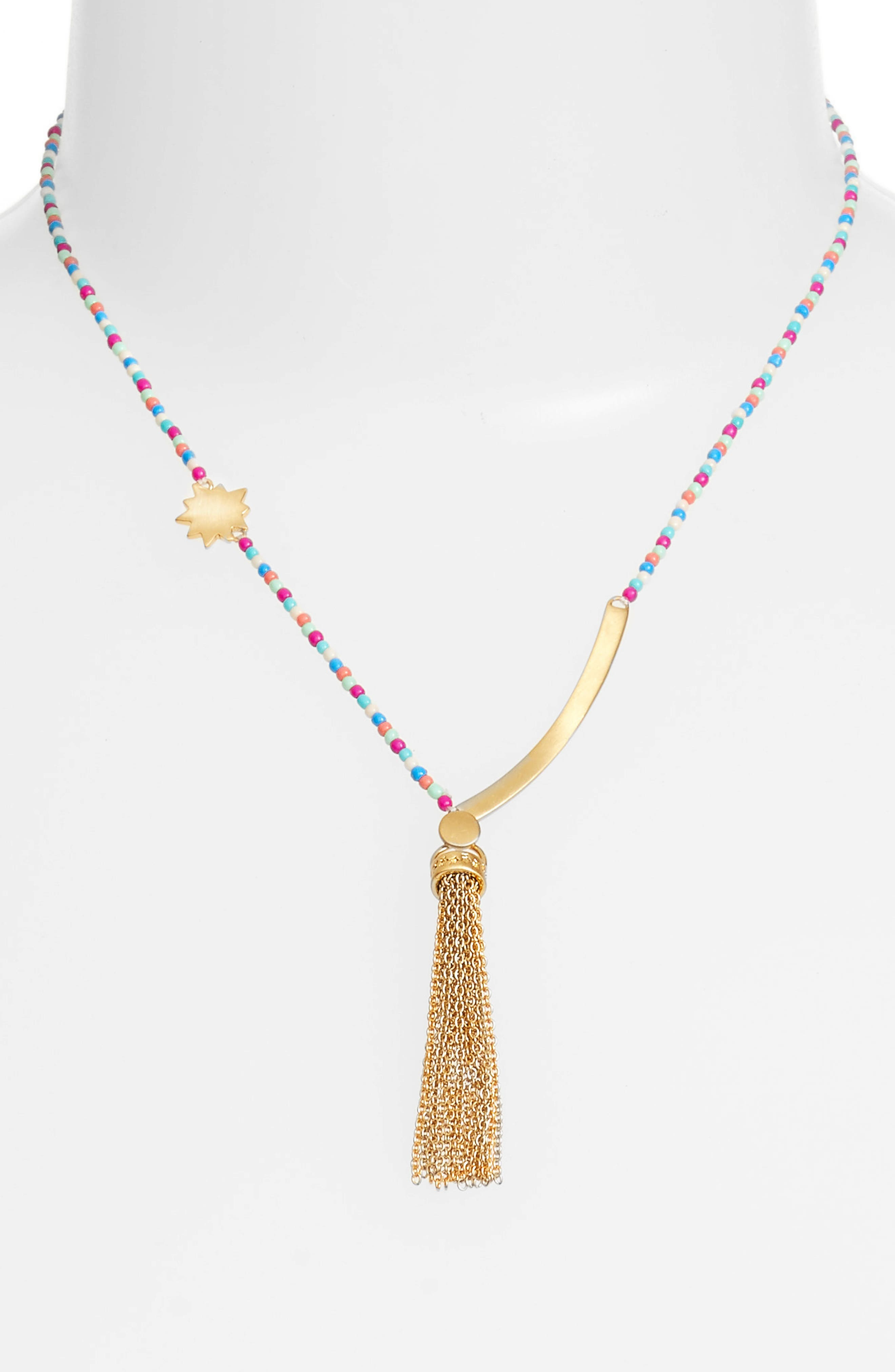 Sole Beaded Tassel Necklace,                             Alternate thumbnail 2, color,                             Bright Multi/ Gold