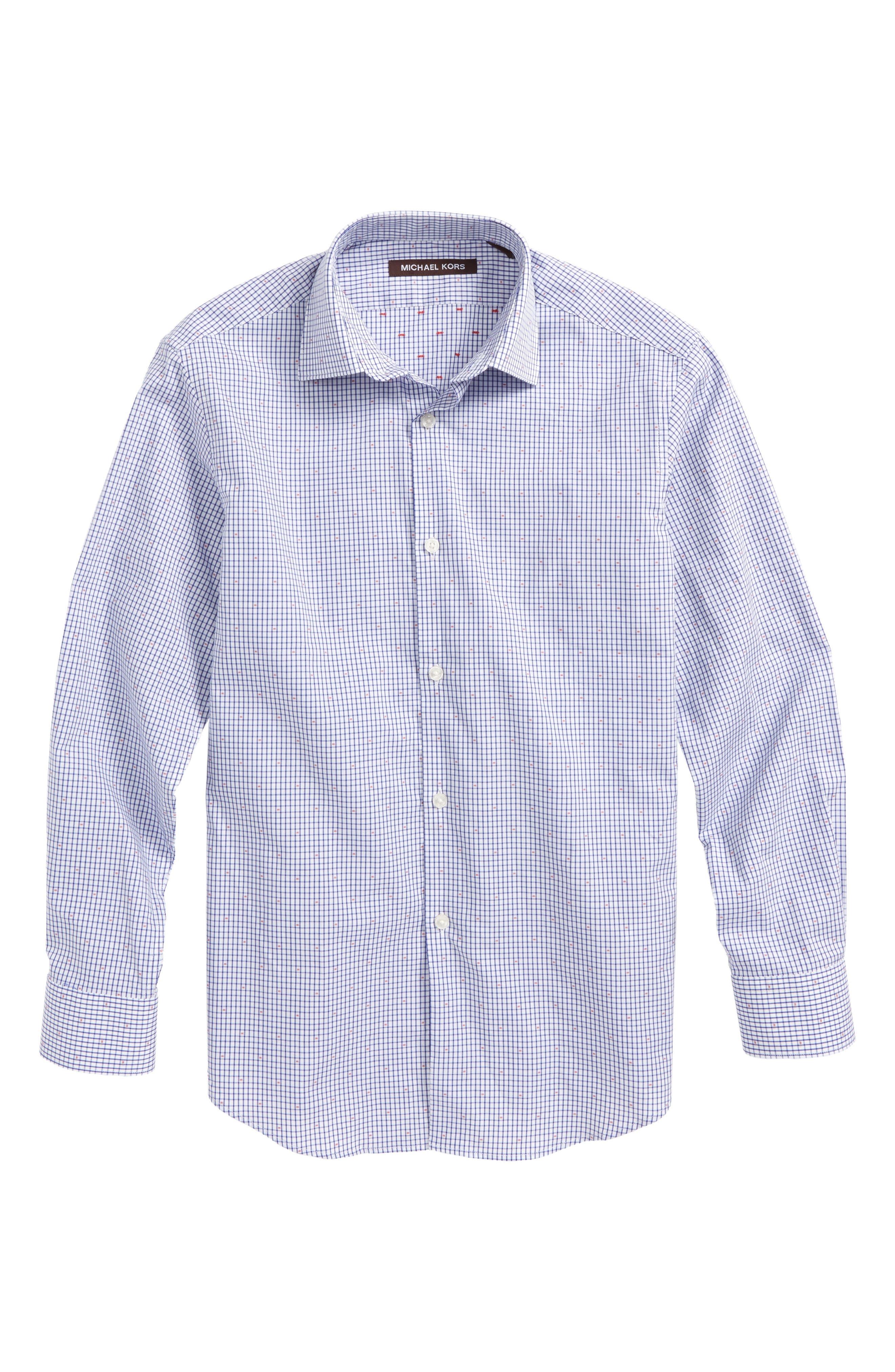 Mini Check Dress Shirt,                             Main thumbnail 1, color,                             Blue/ White