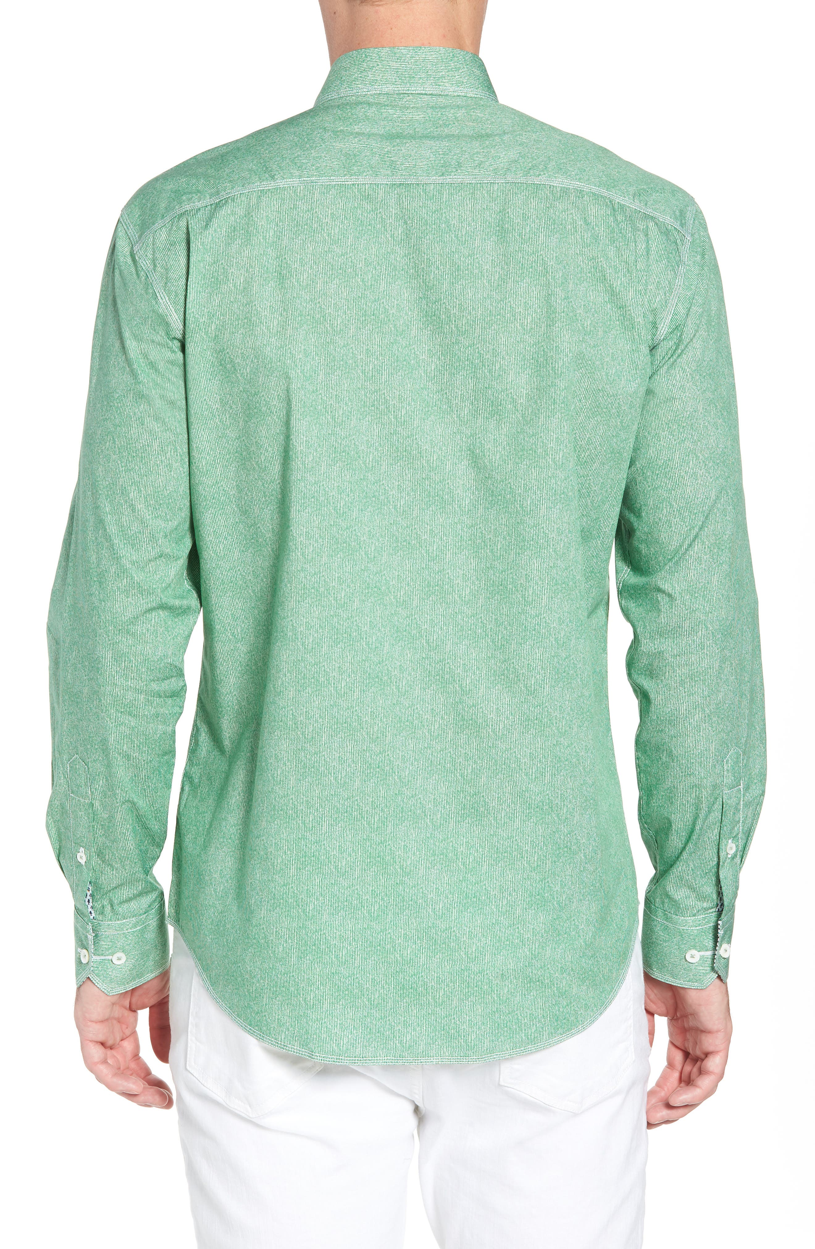 Shaped Fit Striated Print Sport Shirt,                             Alternate thumbnail 3, color,                             Paradise