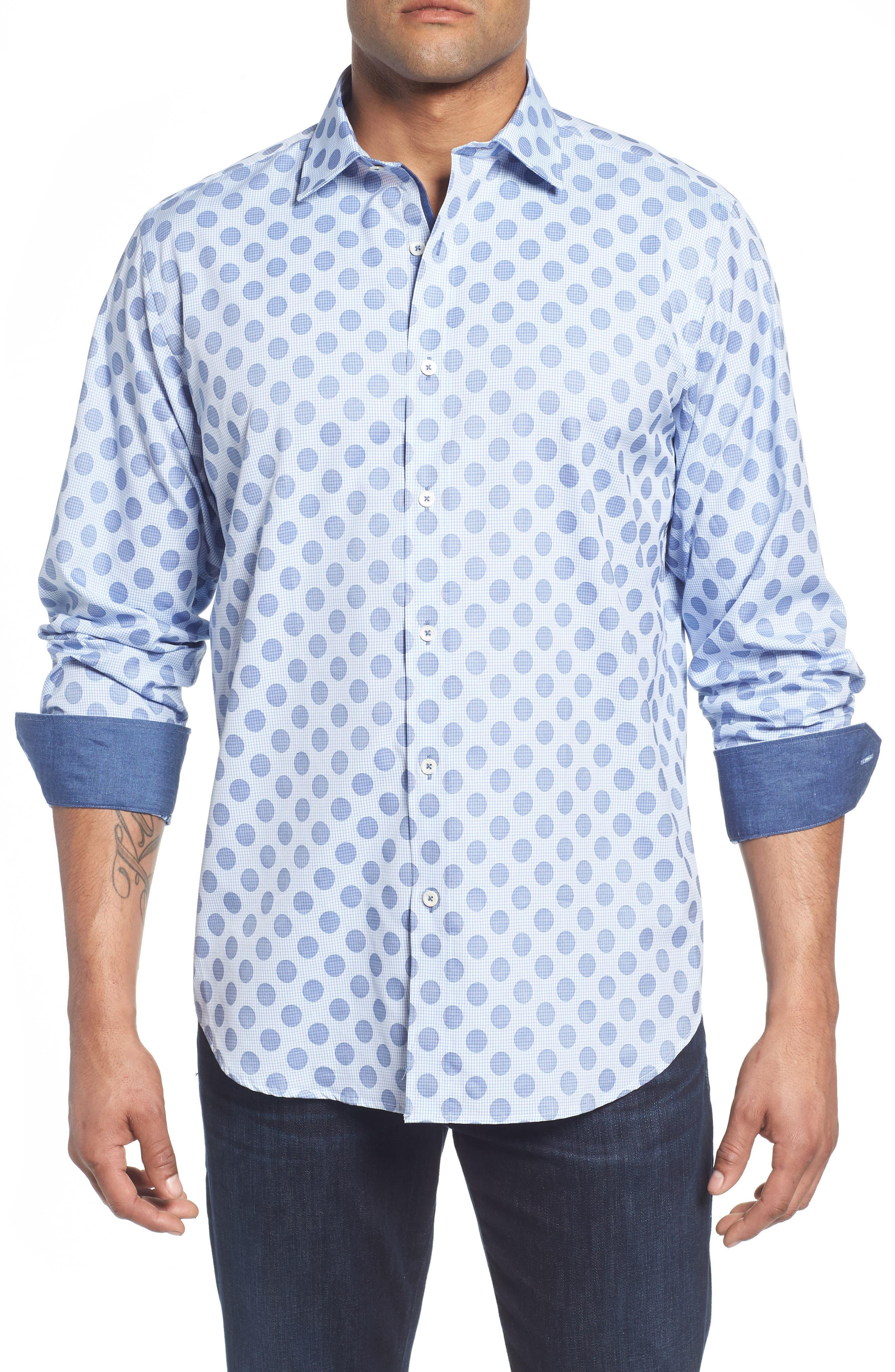 Classic Fit Dot Check Sport Shirt,                         Main,                         color, Air Blue