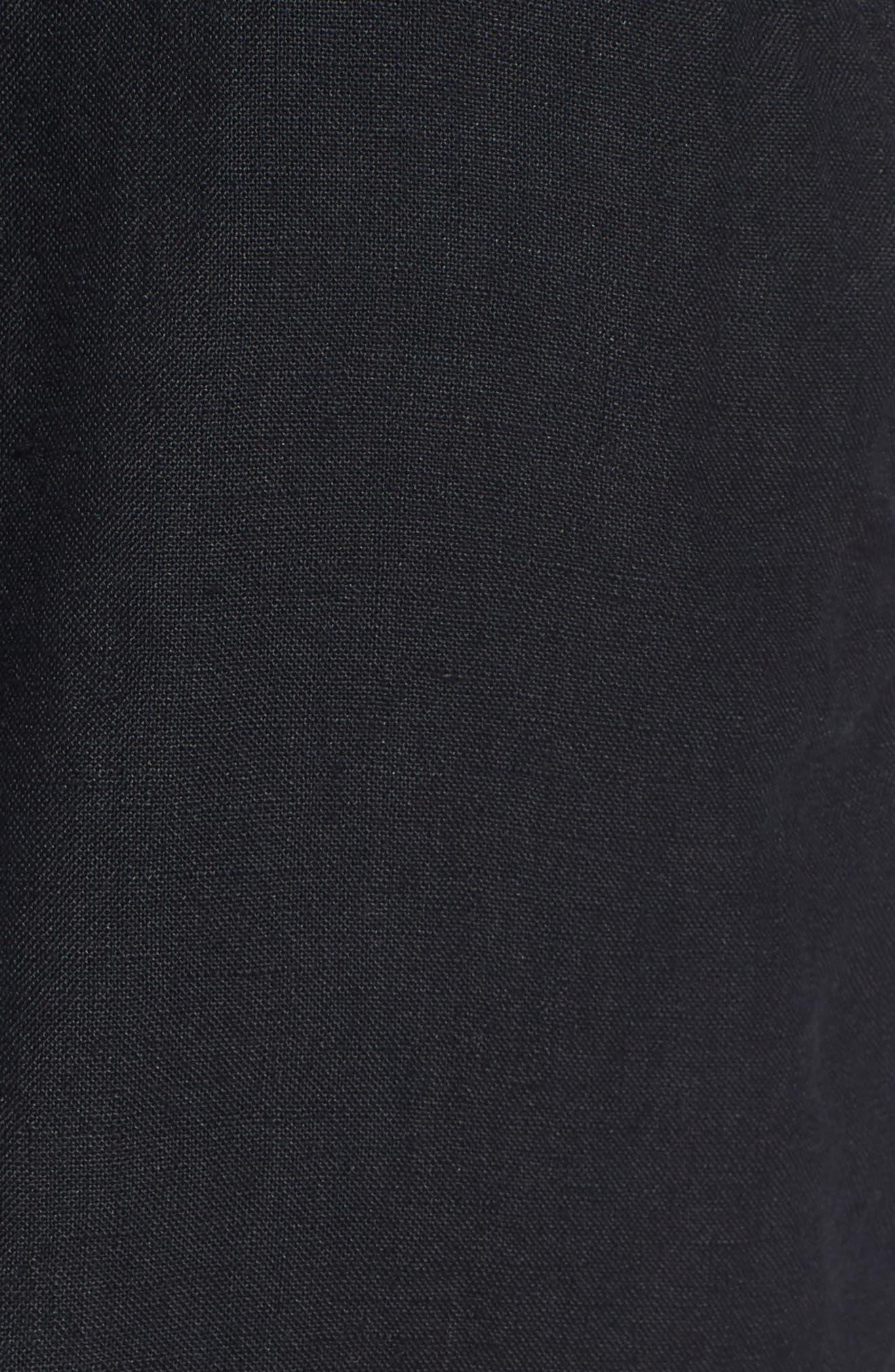 Pleat Tie Waist Linen Shorts,                             Alternate thumbnail 5, color,                             Black