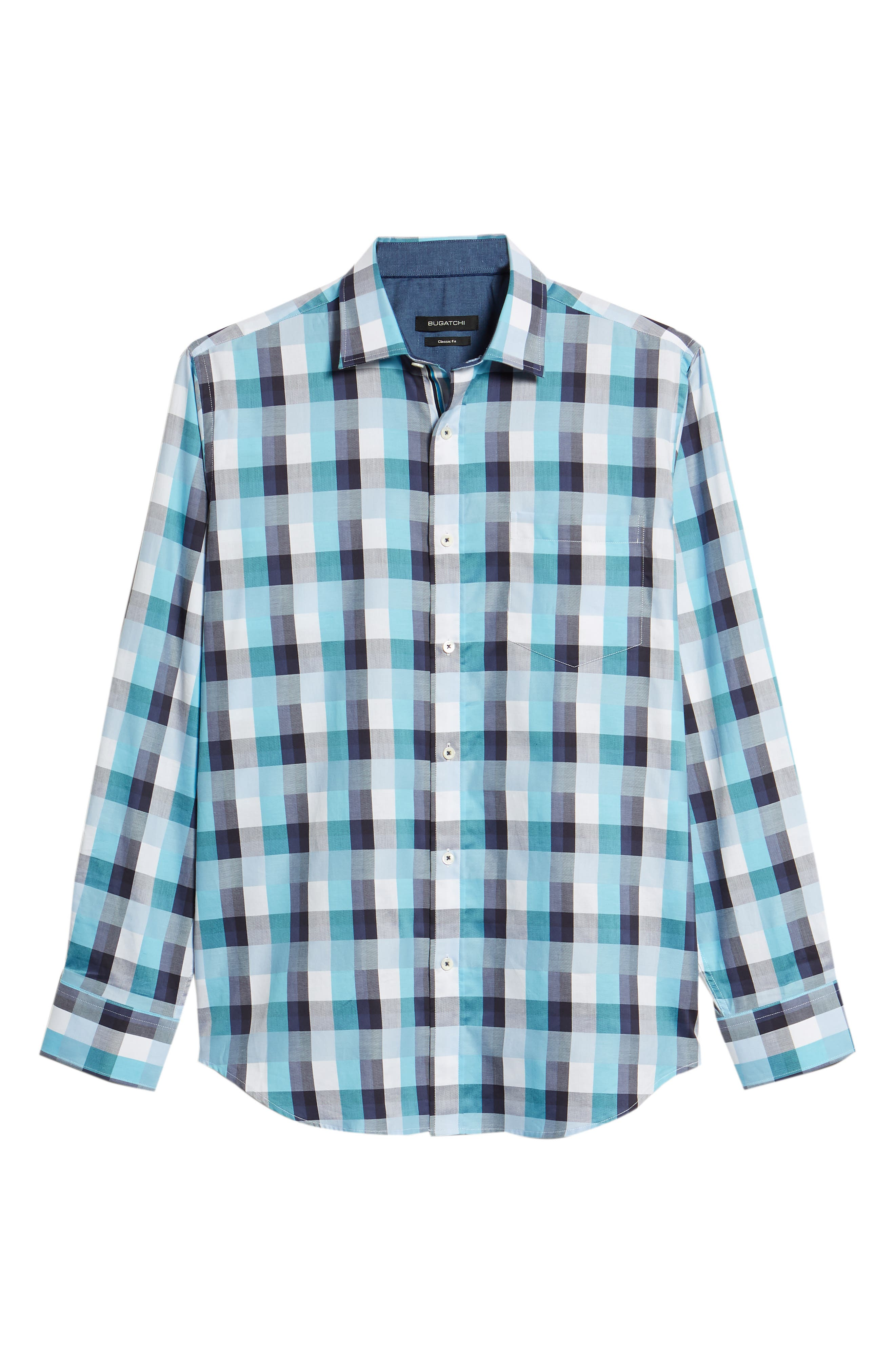 Classic Fit Check Sport Shirt,                             Alternate thumbnail 6, color,                             Seafoam