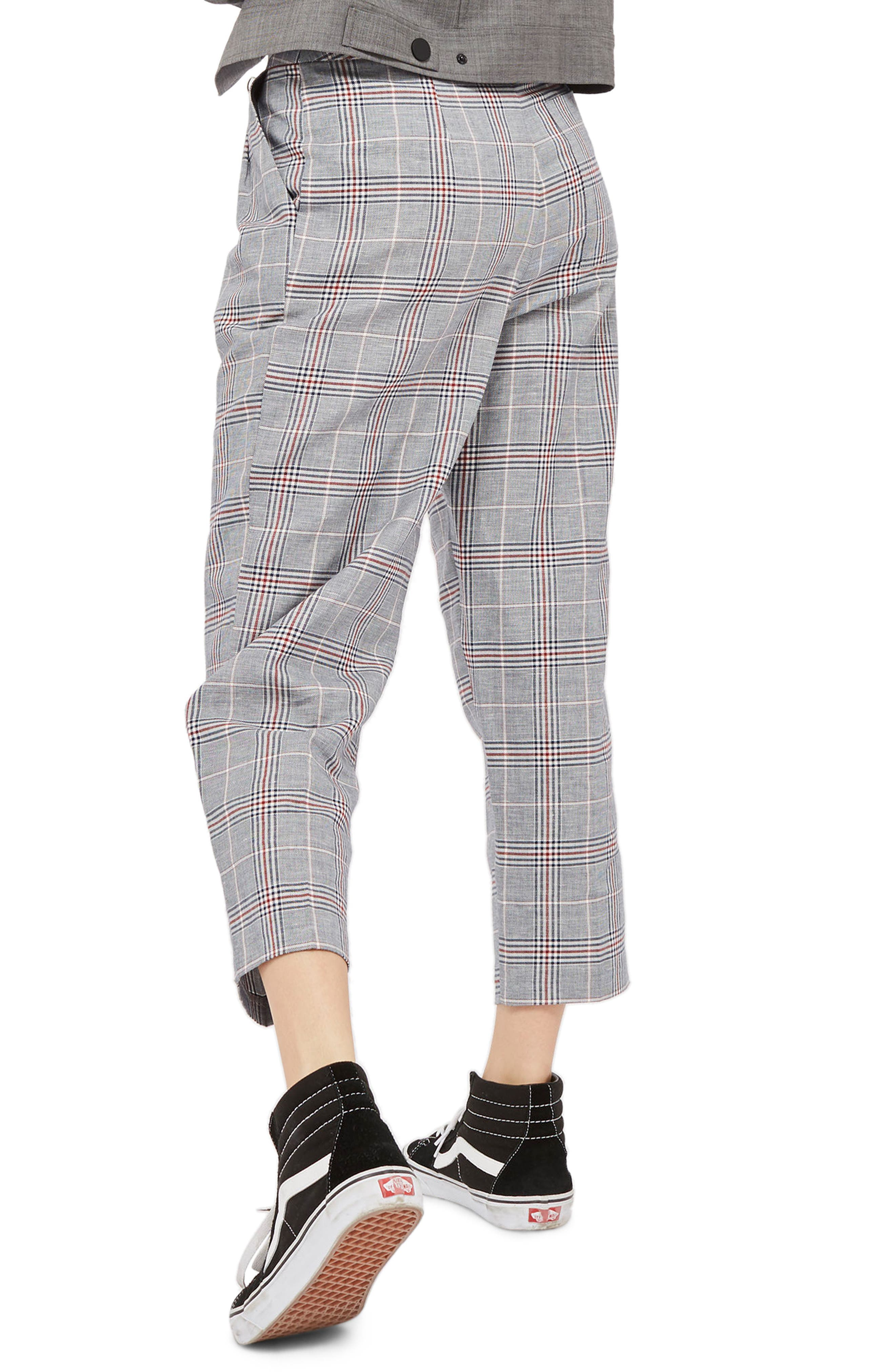 Cham Linen Checked Trousers,                             Alternate thumbnail 2, color,                             Grey  Multi