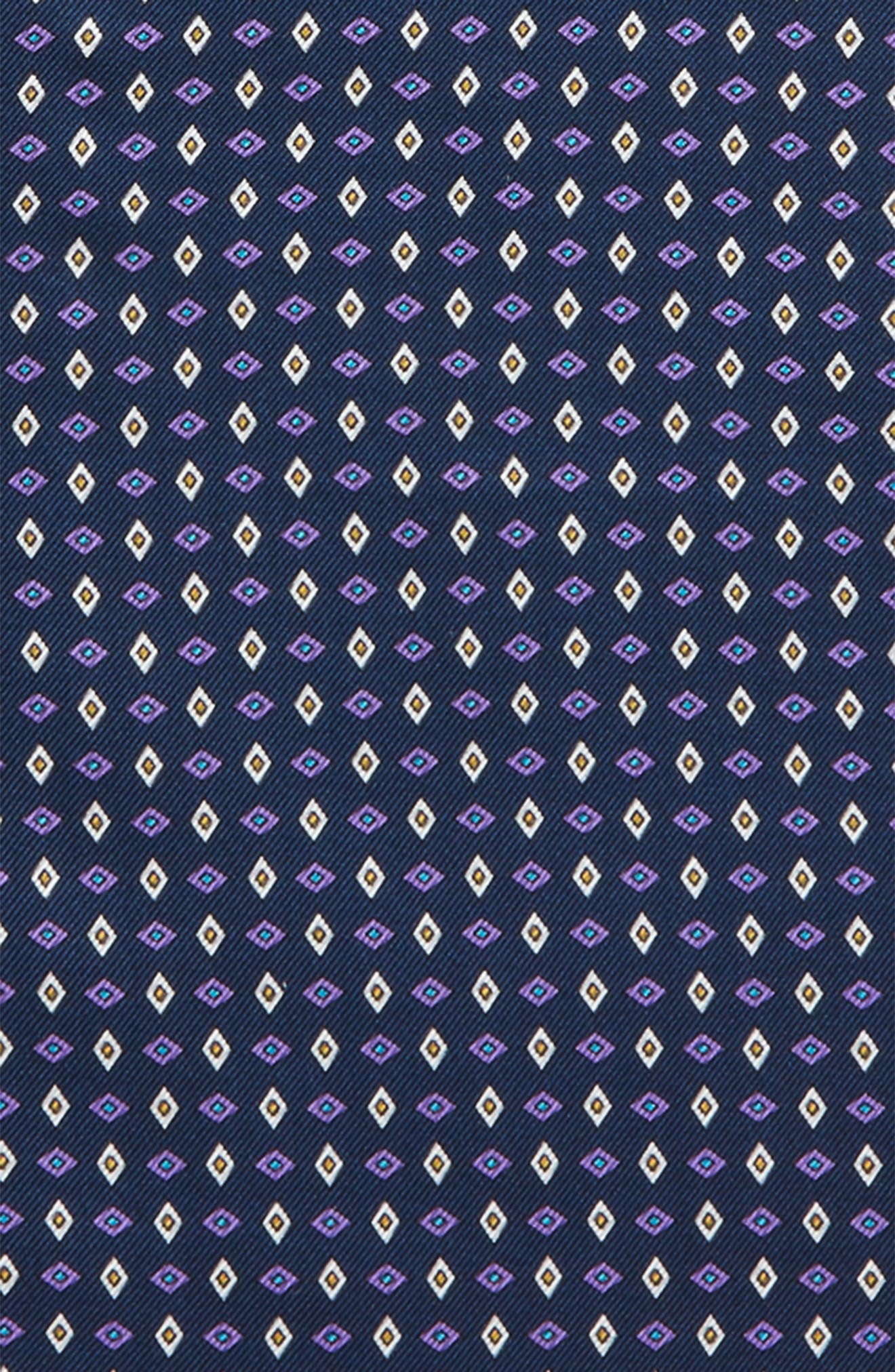 Geometric Grid Silk Pocket Square,                             Alternate thumbnail 3, color,                             Navy