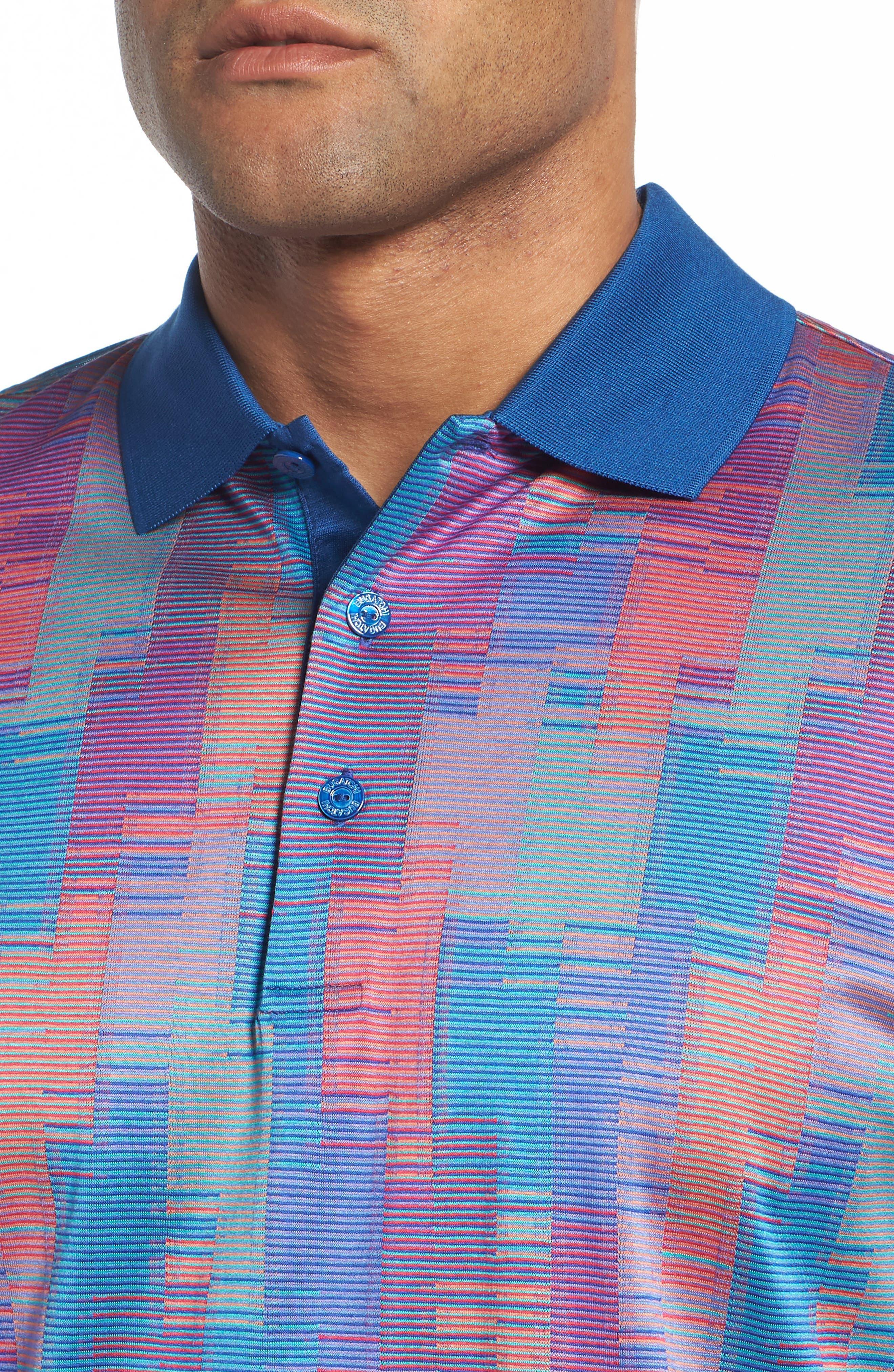 Abstract Stripe Mercerized Cotton Polo,                             Alternate thumbnail 4, color,                             Coral