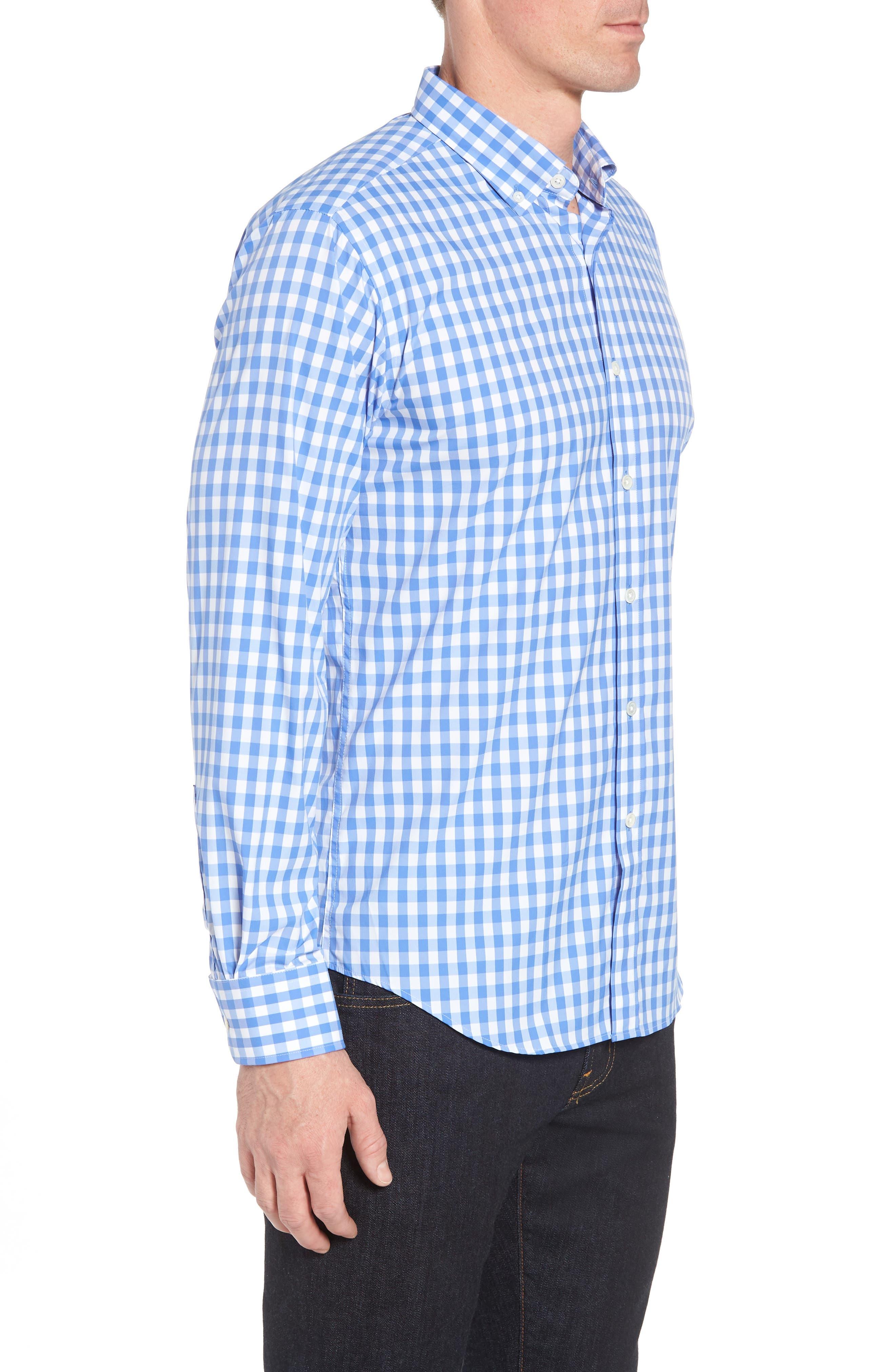 Shaped Fit Gingham Sport Shirt,                             Alternate thumbnail 4, color,                             Classic Blue