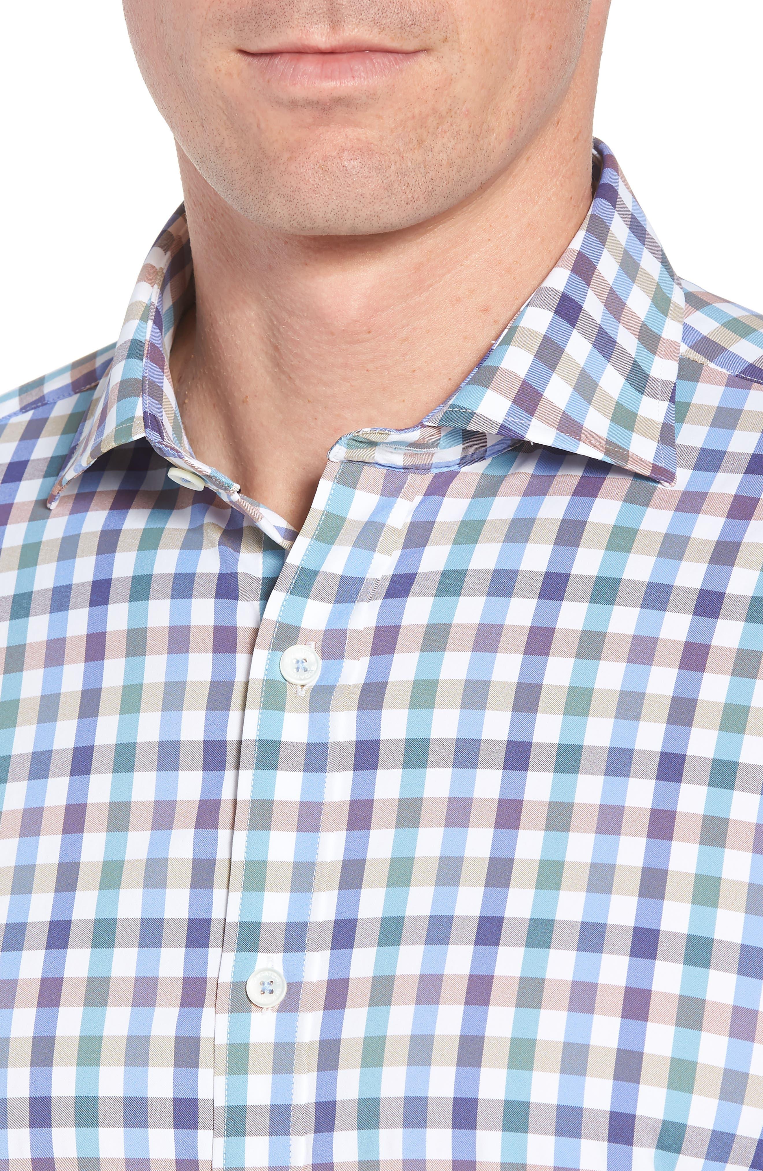 Shaped Fit Check Sport Shirt,                             Alternate thumbnail 2, color,                             Mocha