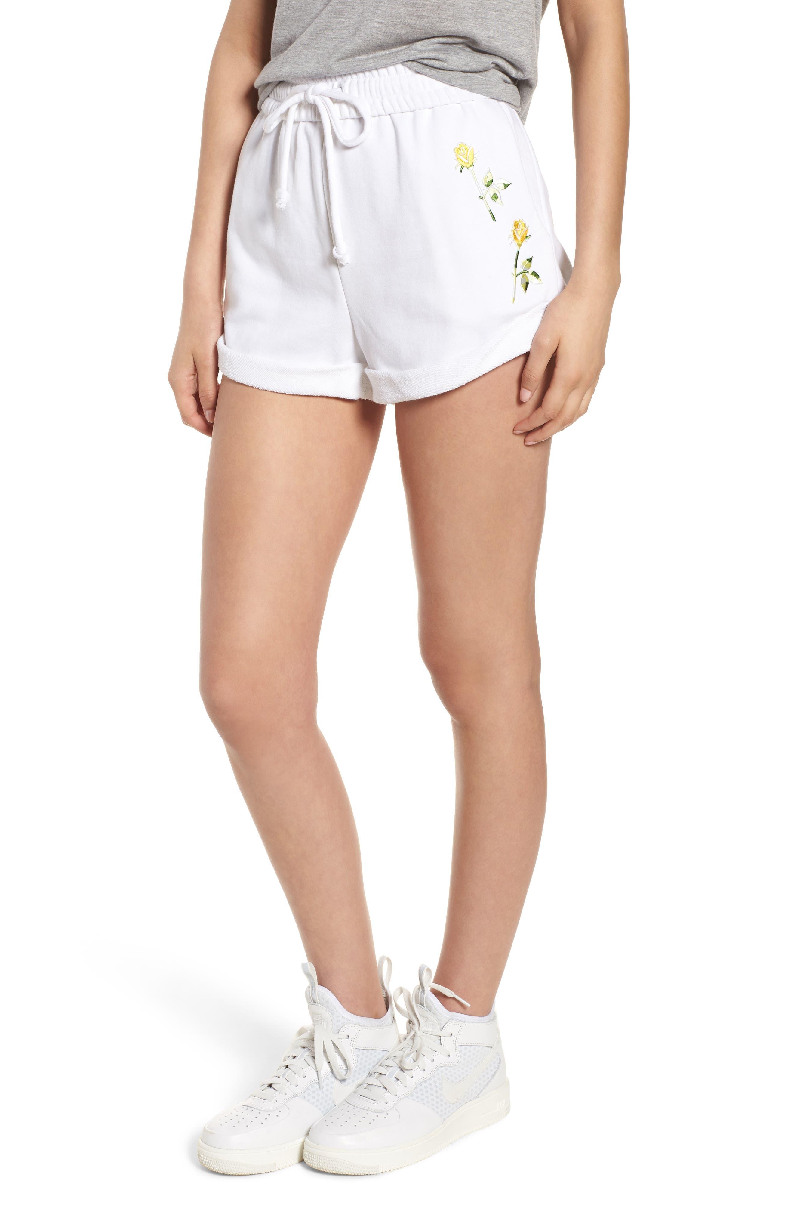 Rolled Drawstring Shorts,                             Main thumbnail 1, color,                             Bright White