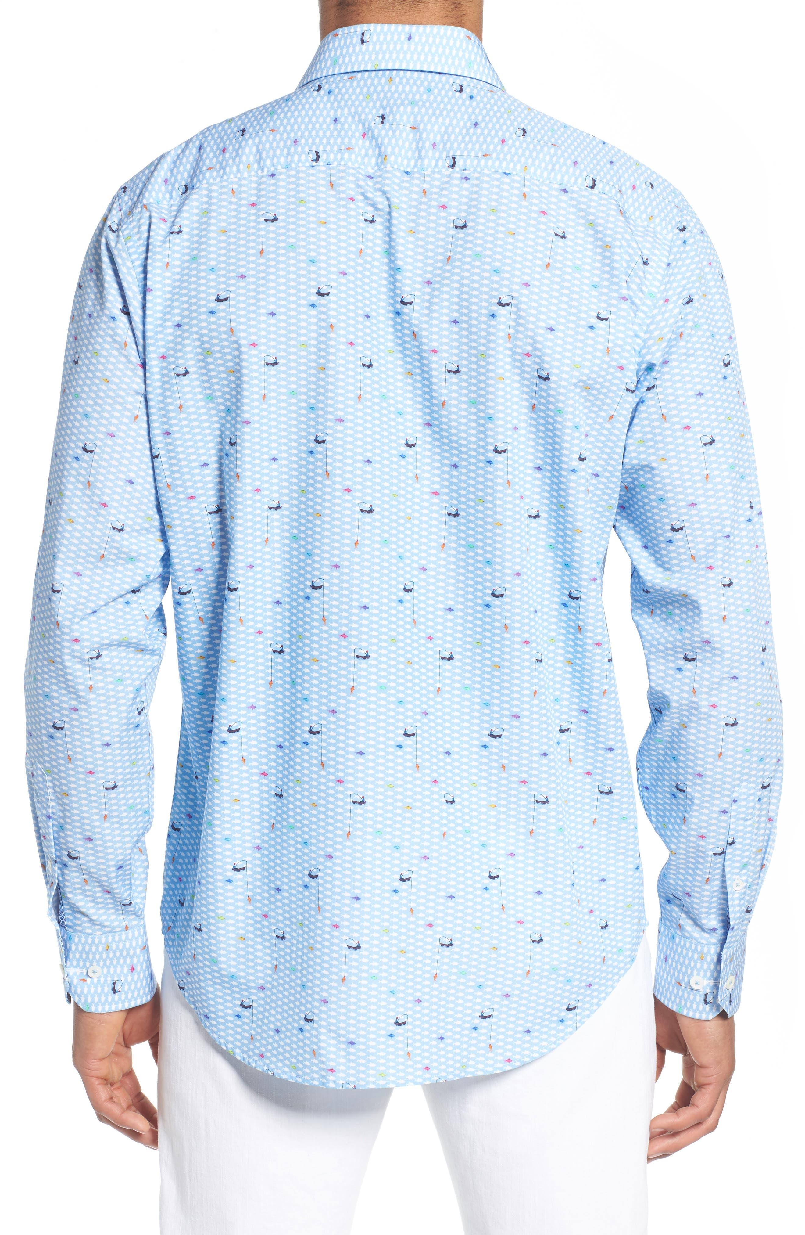 Classic Fit Fisherman Print Sport Shirt,                             Alternate thumbnail 3, color,                             Air Blue