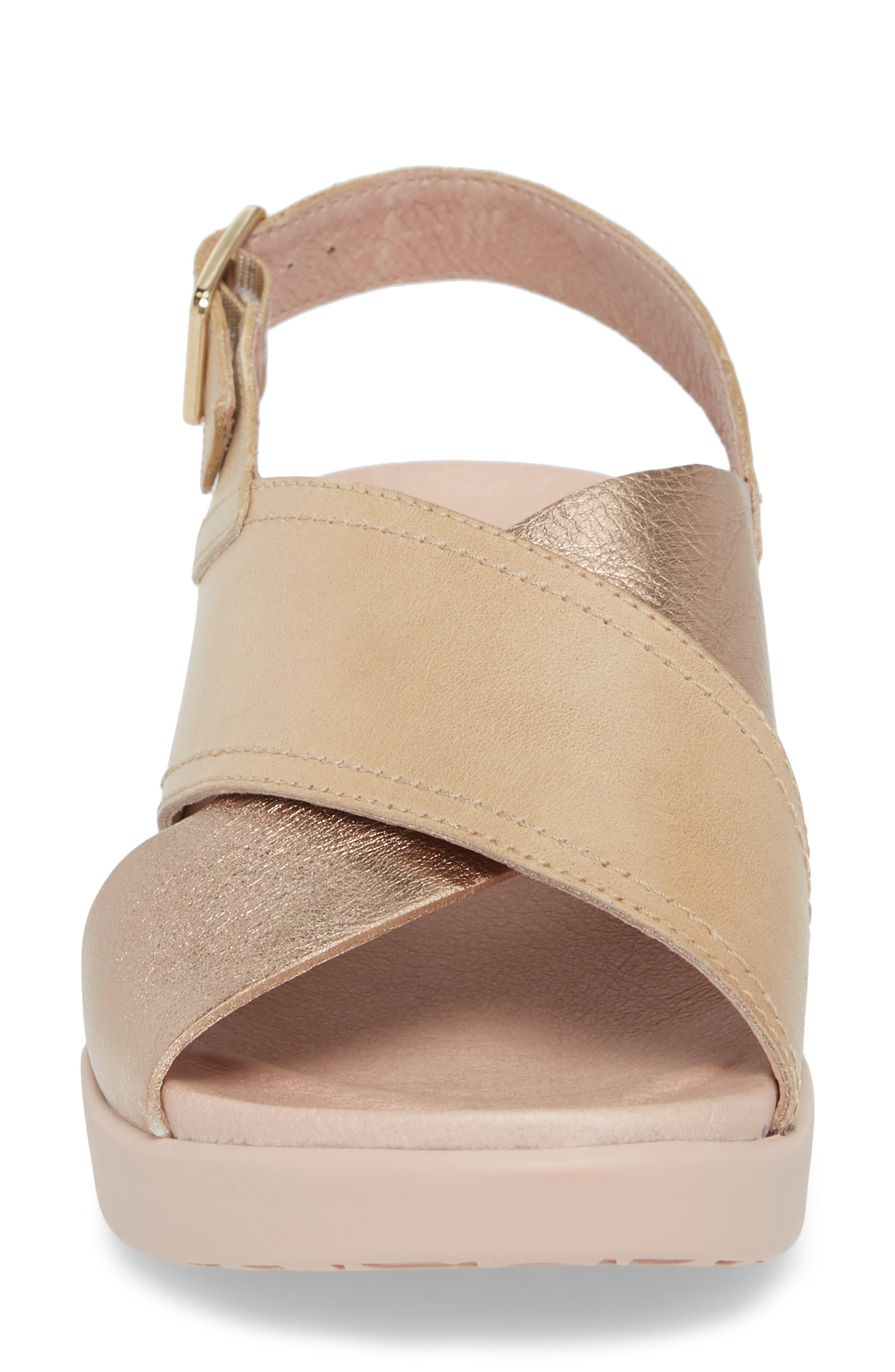 Platform Wedge Sandal,                             Alternate thumbnail 4, color,                             Oro/ Taupe Leather