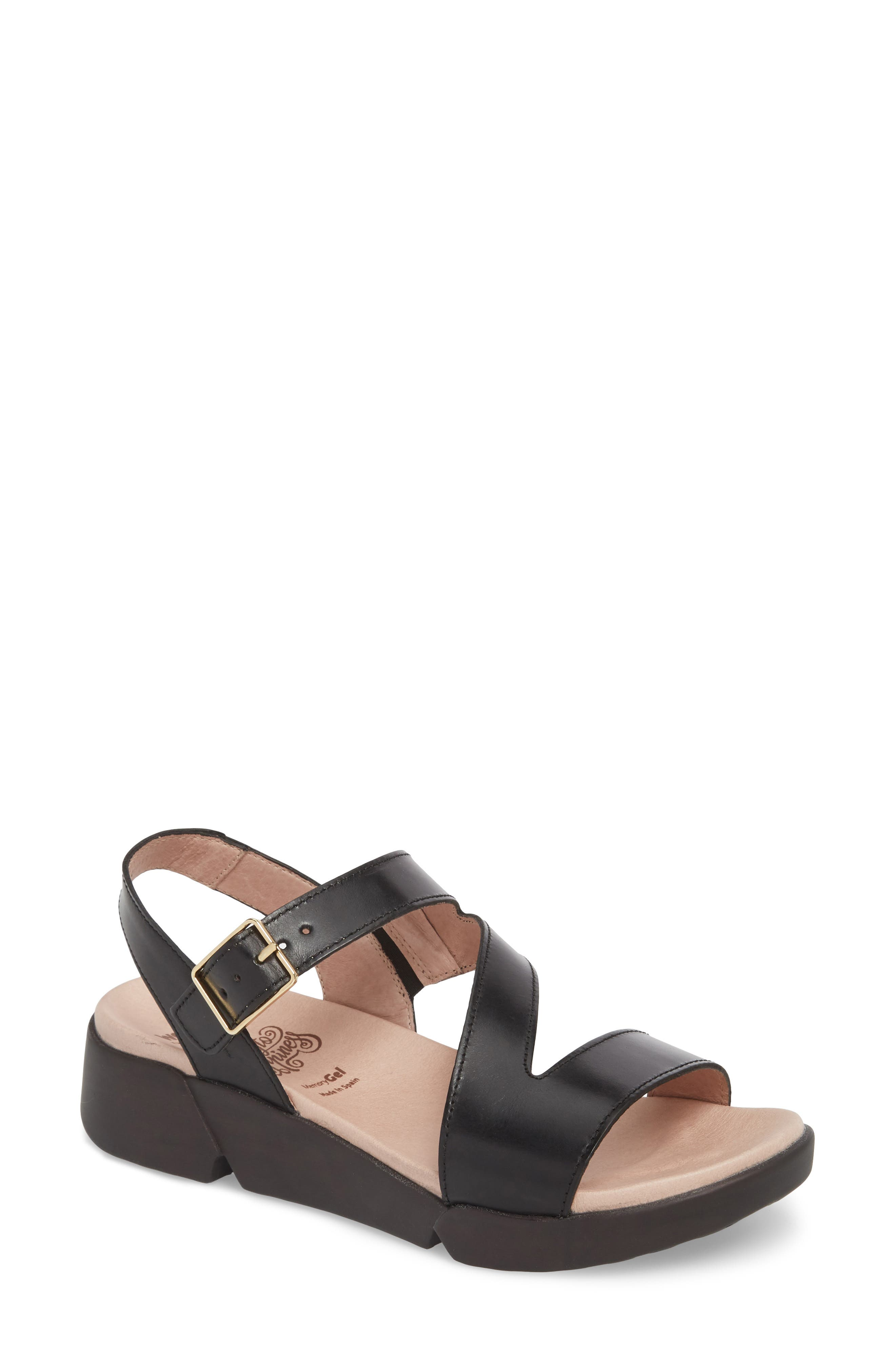 Platform Wedge Sandal,                             Main thumbnail 1, color,                             Black Leather