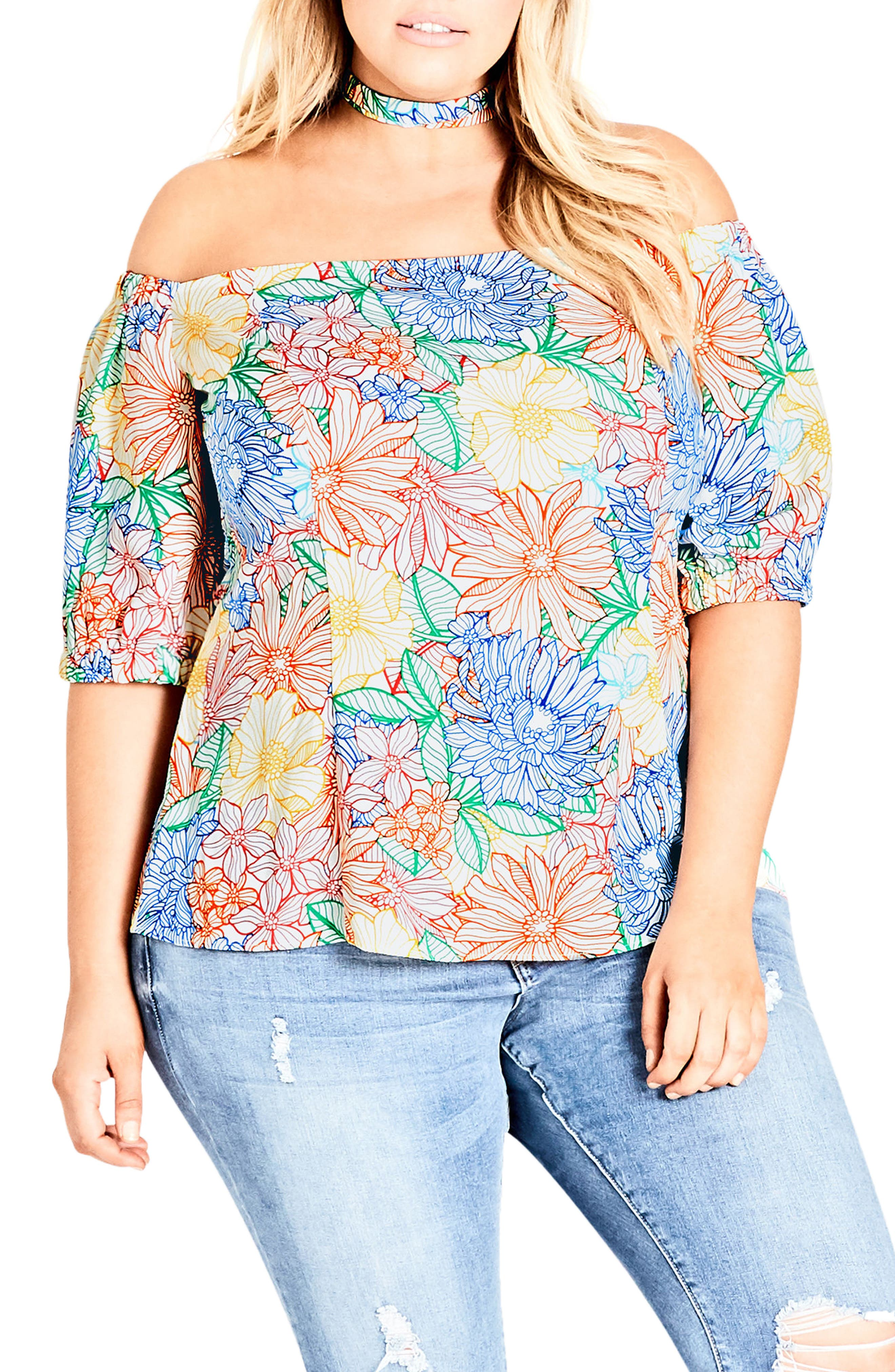 City Chic Etched Bloom Top with Choker (Plus Size)