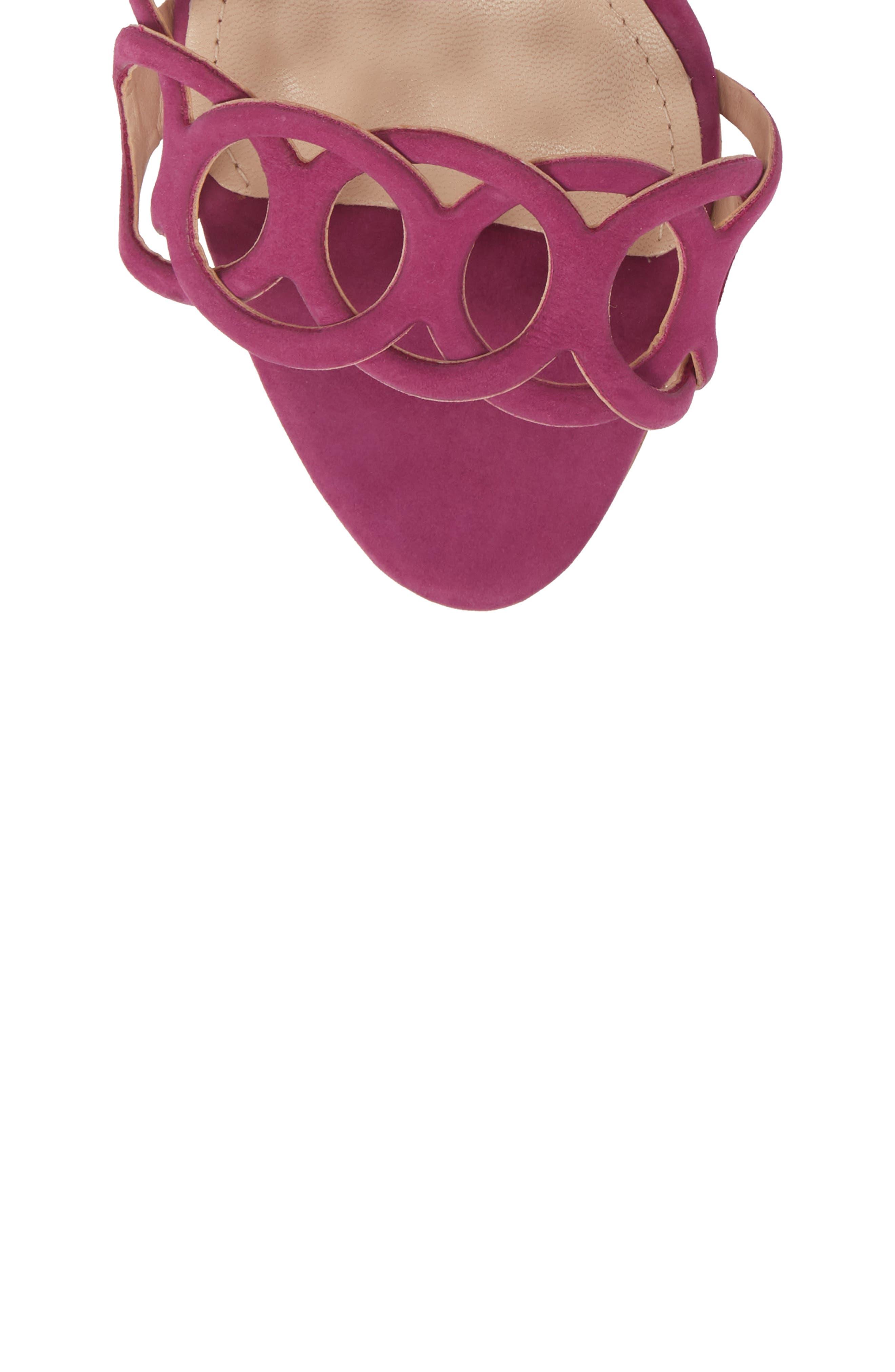 Sthefany Ankle Strap Sandal,                             Alternate thumbnail 5, color,                             Grape Leather