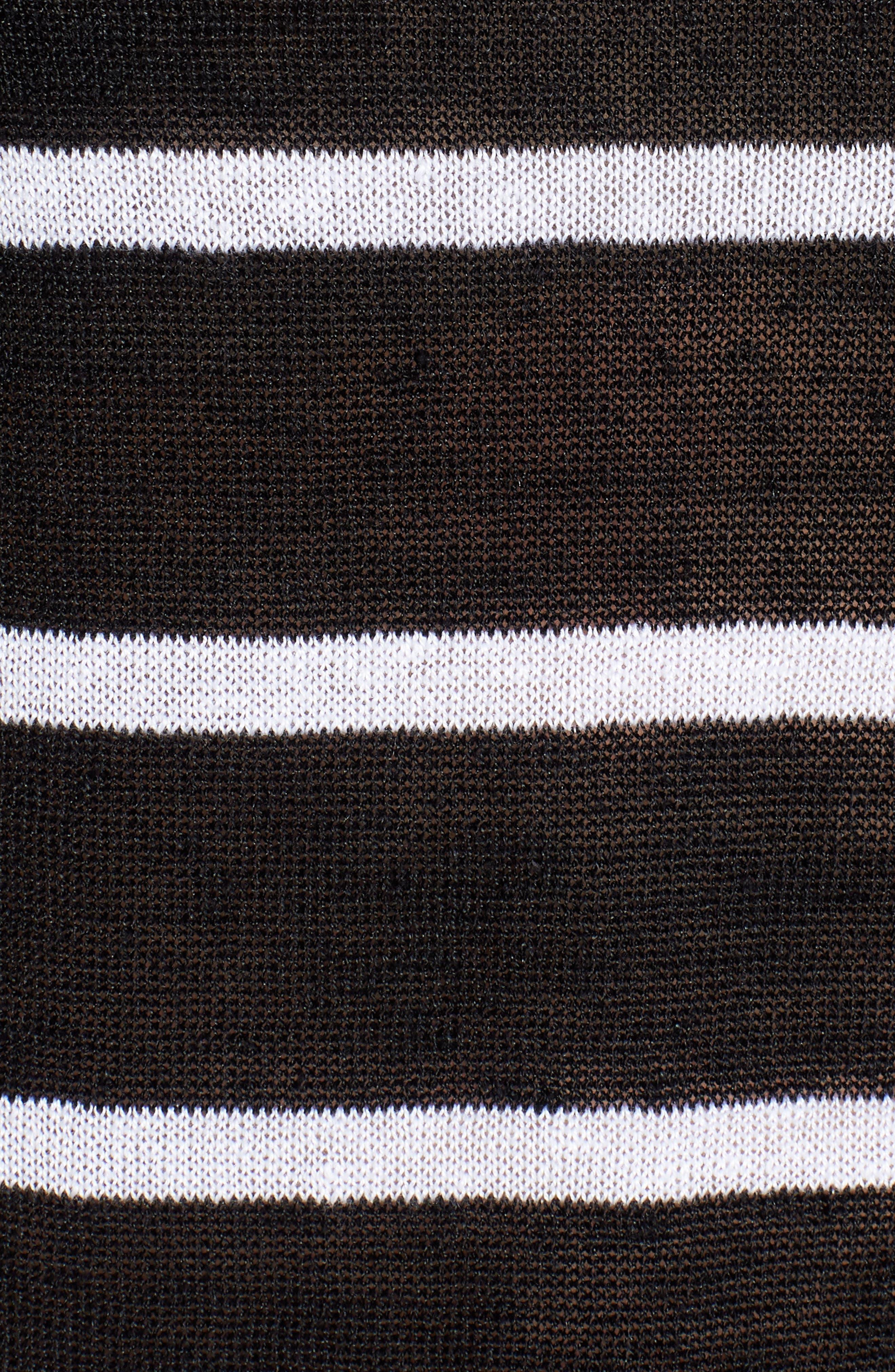 Stripe Organic Linen Sweater,                             Alternate thumbnail 5, color,                             Black/ White