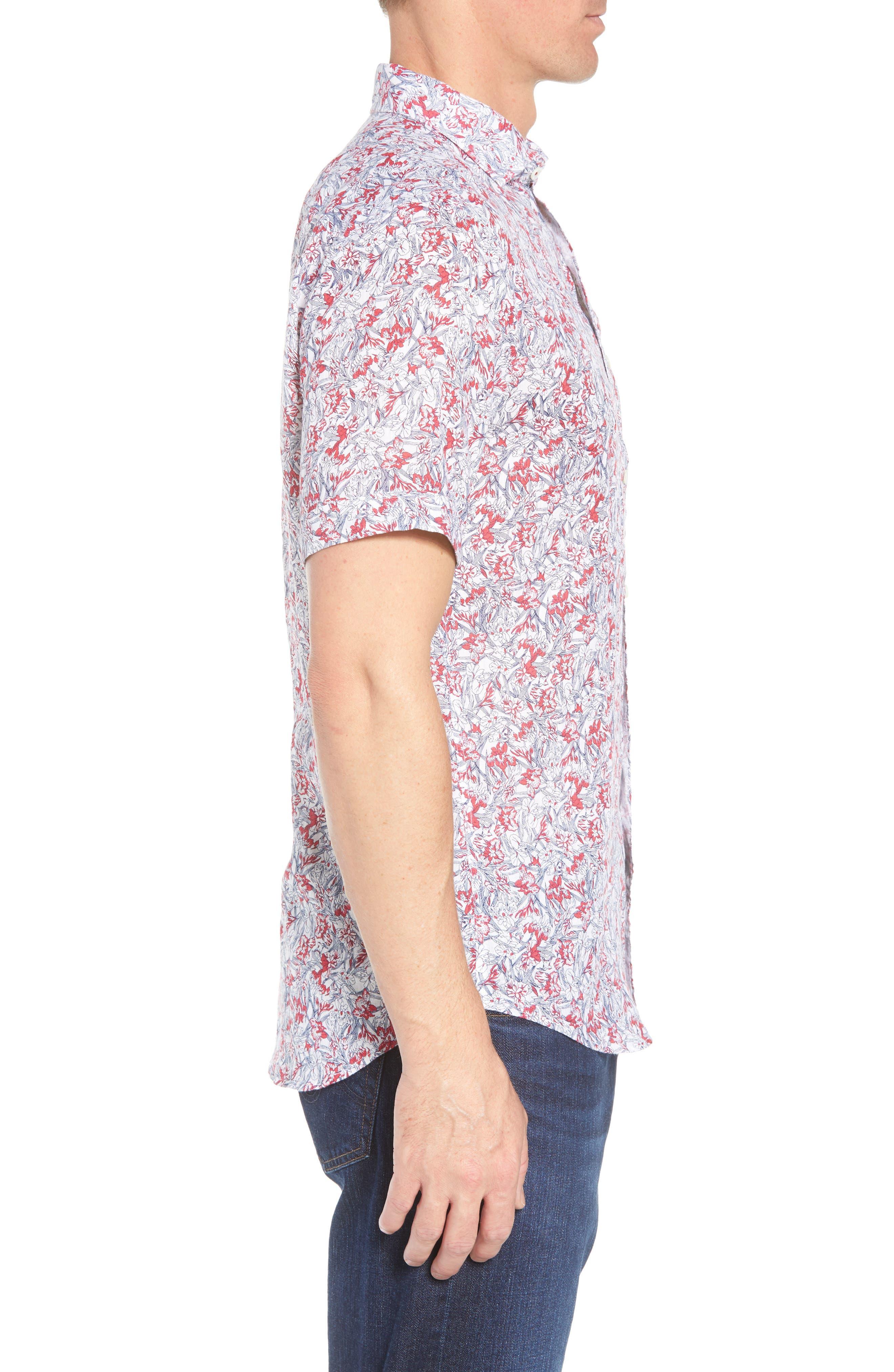 Shaped Fit Print Linen Sport Shirt,                             Alternate thumbnail 4, color,                             Pimento