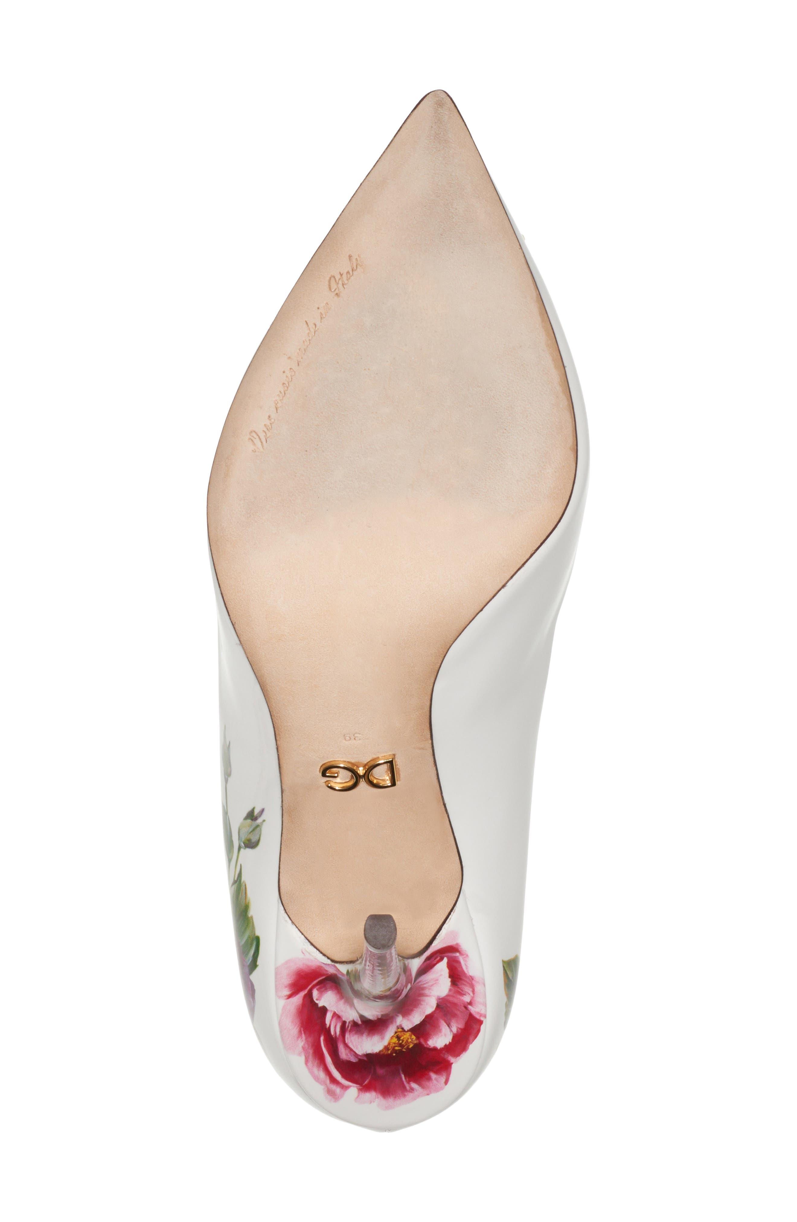 Crystal Embellished Floral Pump,                             Alternate thumbnail 6, color,                             White/ Pink
