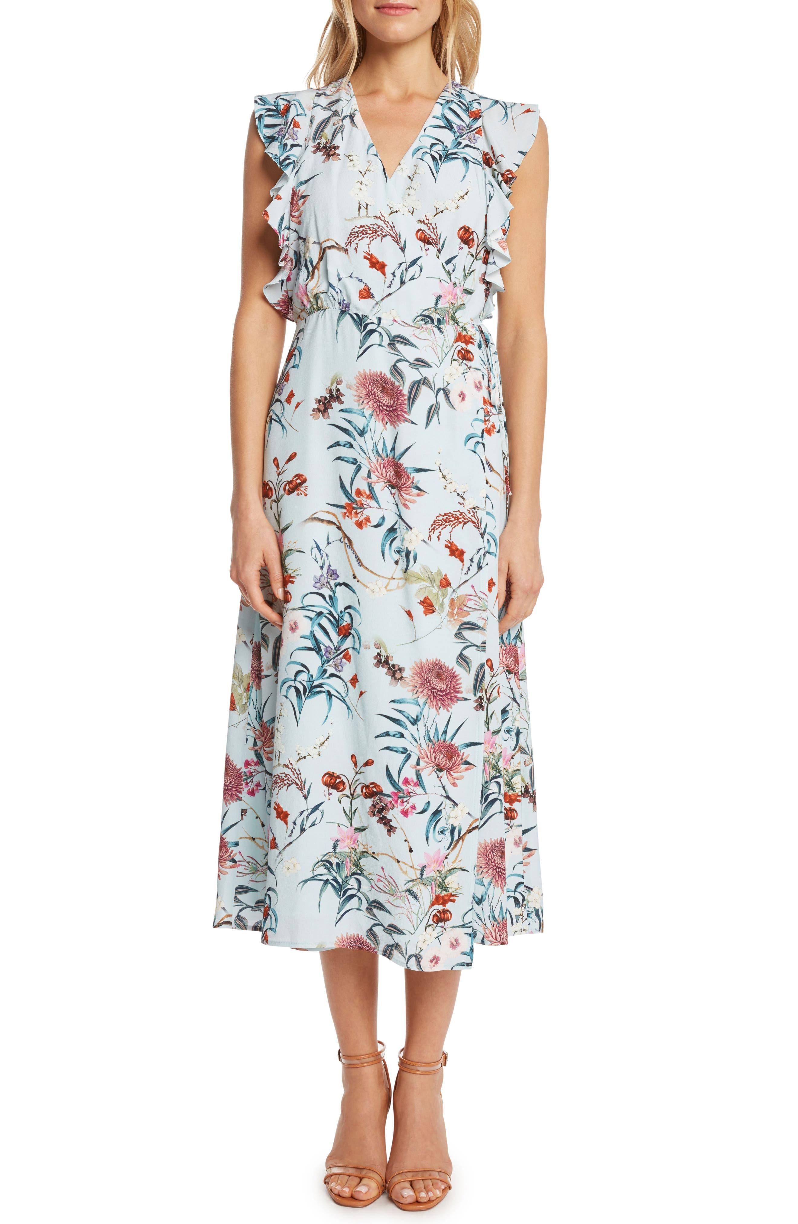 Print Wrap Midi Dress,                         Main,                         color, Mint