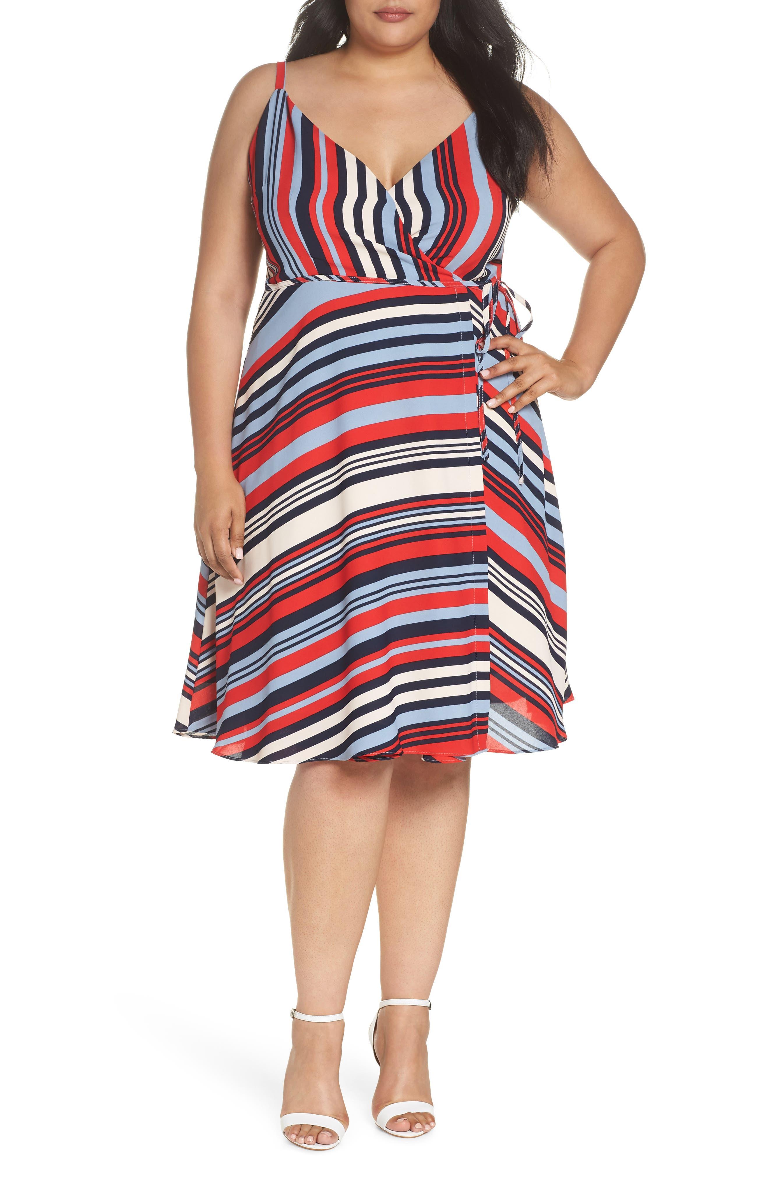 Cooper St Milan Stripe Wrap Dress (Plus Size)