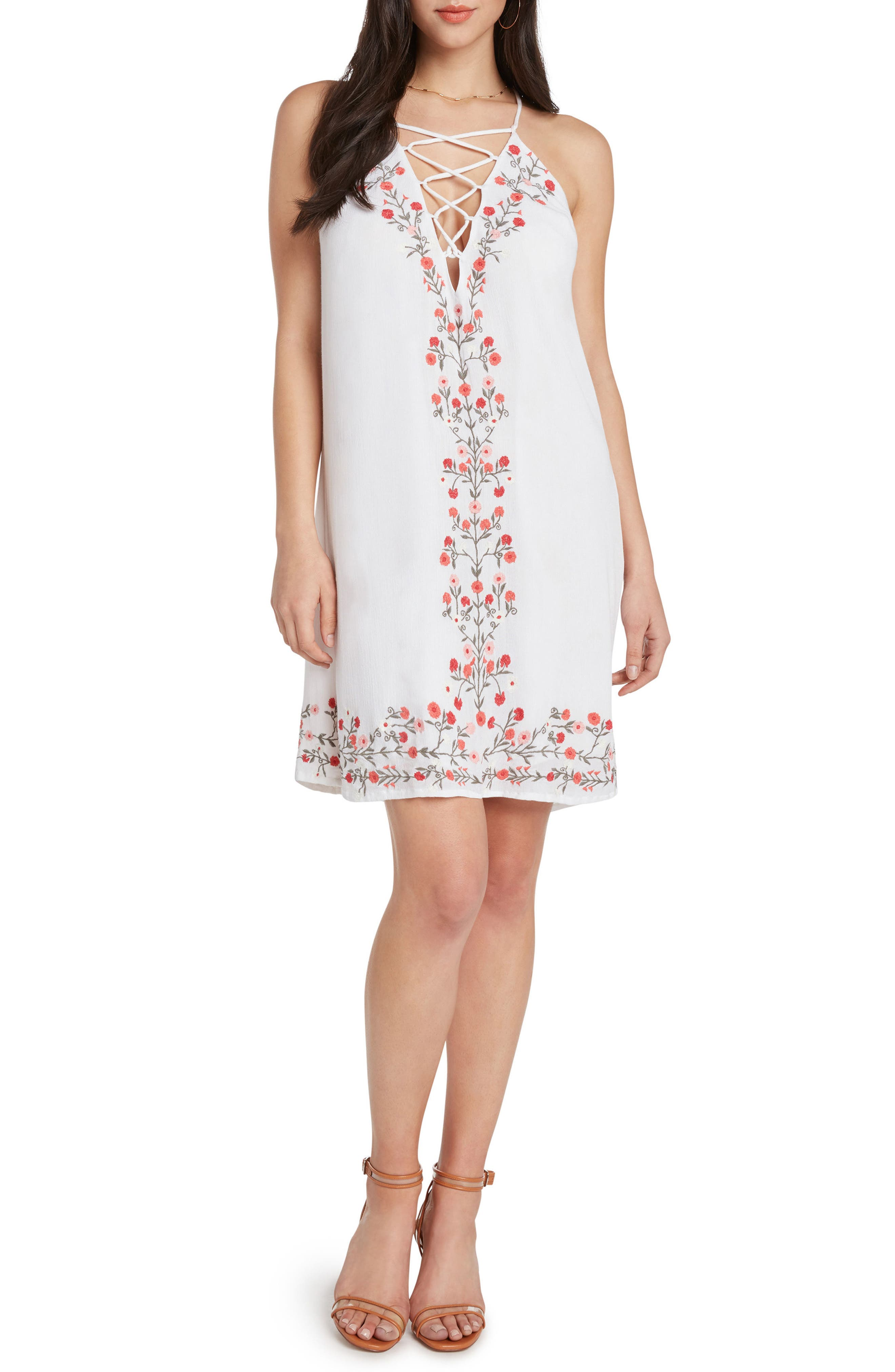Embroidered Shift Dress,                             Main thumbnail 1, color,                             Vellum