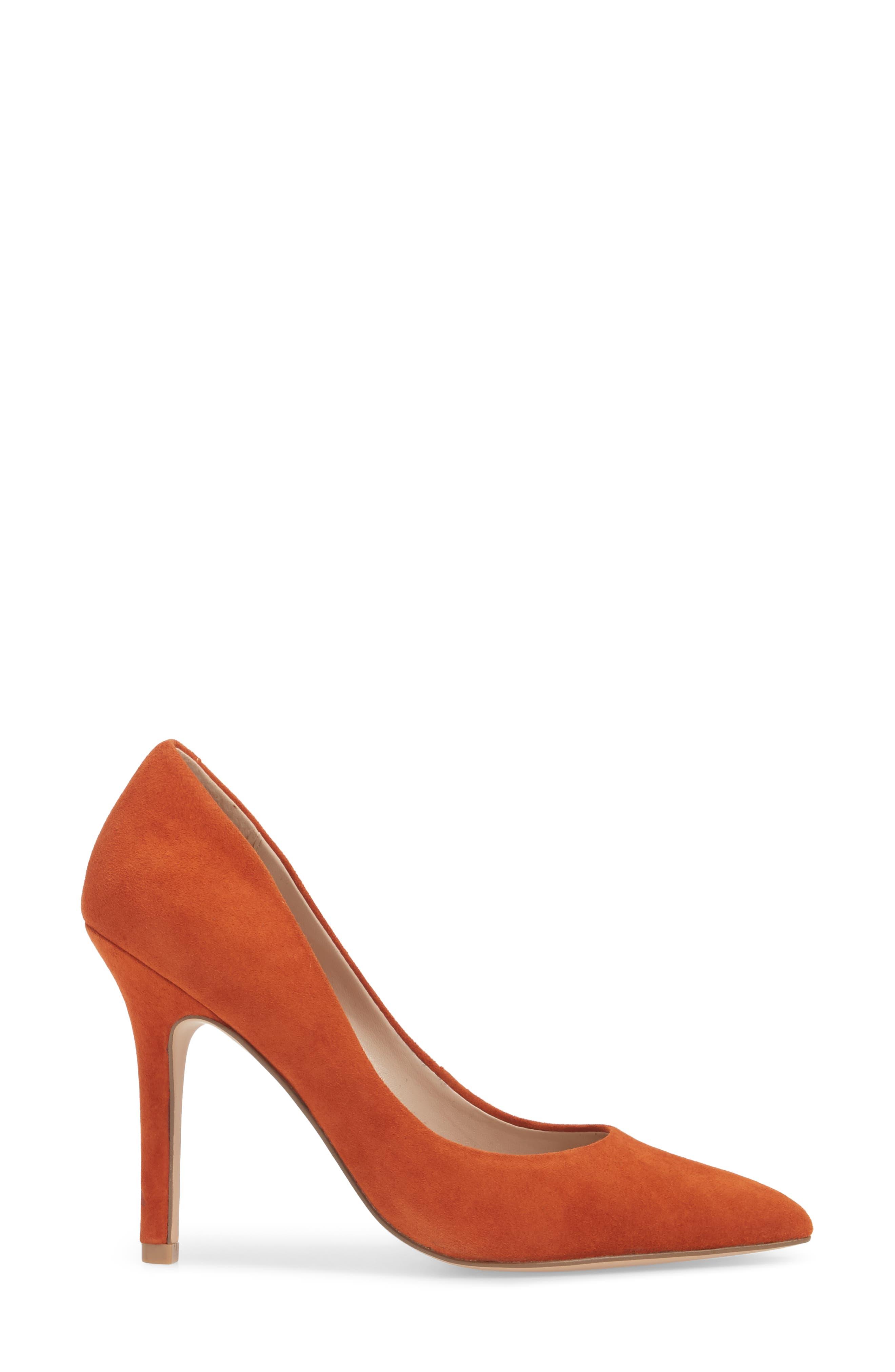 Maxx Pointy Toe Pump,                             Alternate thumbnail 3, color,                             Orange Suede