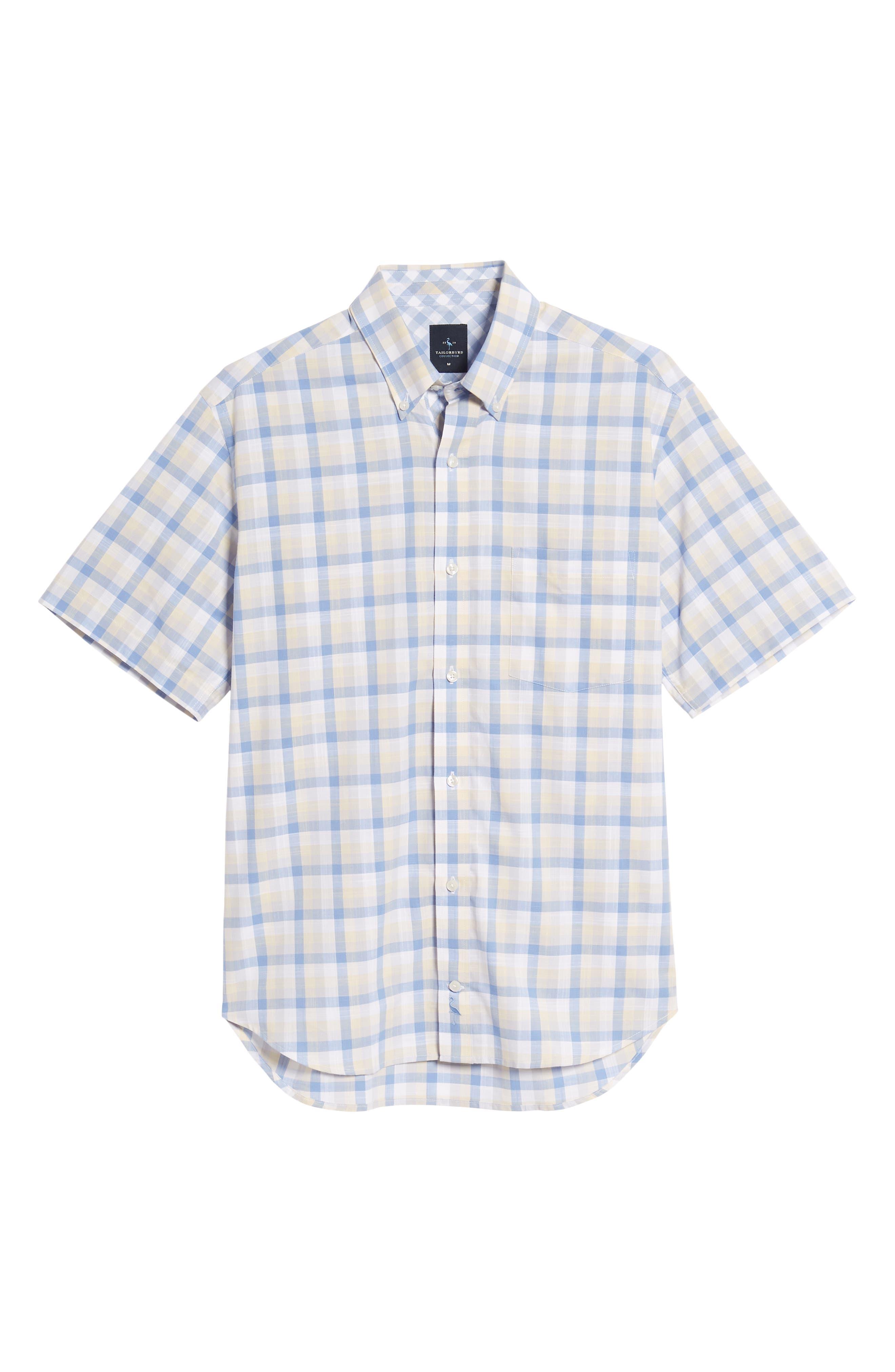 Jaziel Regular Fit Check Sport Shirt,                             Alternate thumbnail 6, color,                             Light Blue
