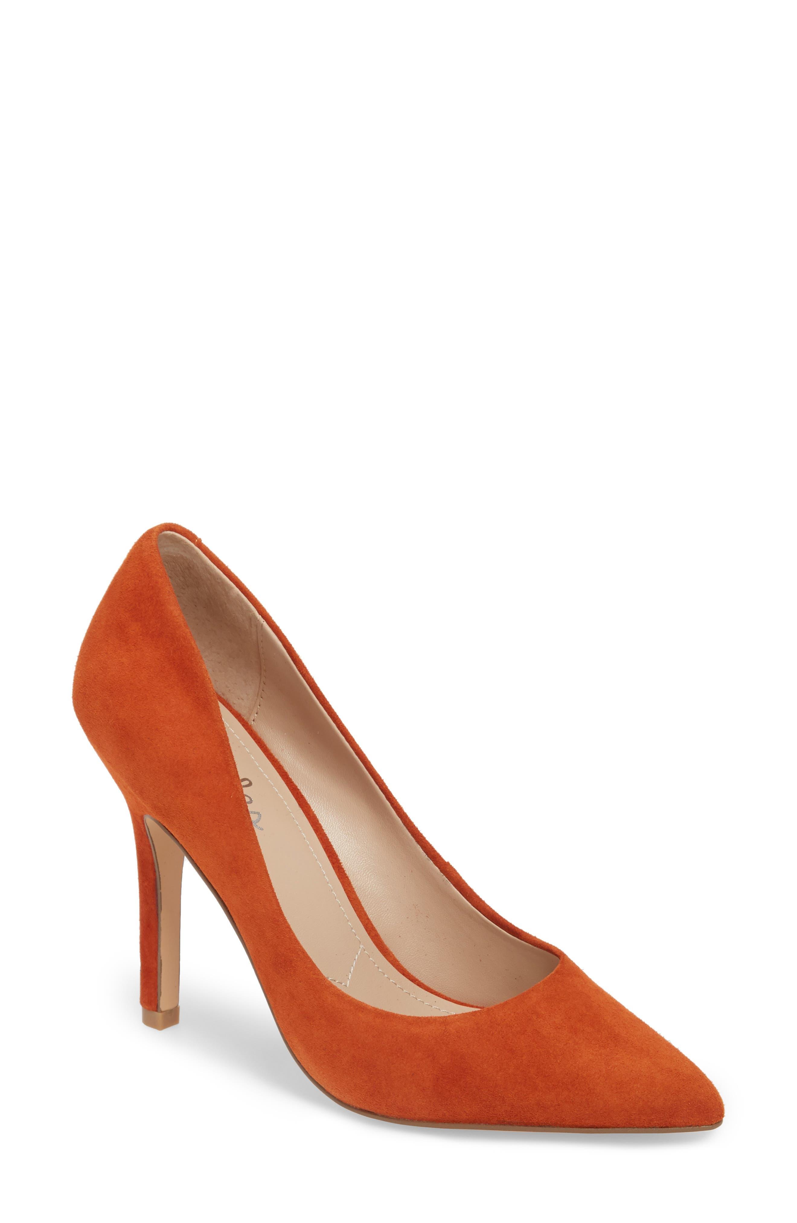 Maxx Pointy Toe Pump,                         Main,                         color, Orange Suede