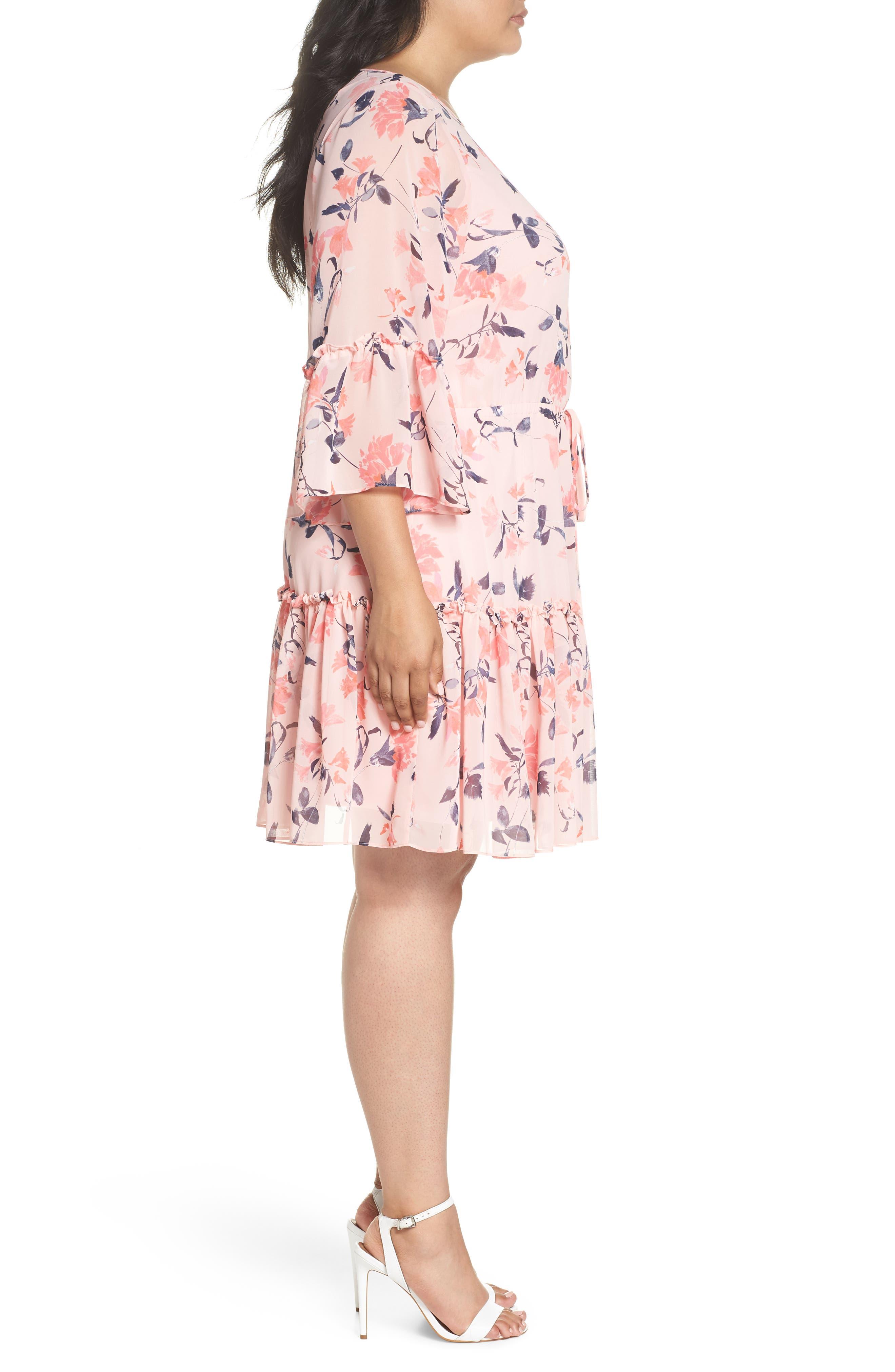 Elza J Floral Bell Sleeve Chiffon Dress,                             Alternate thumbnail 3, color,                             Blush