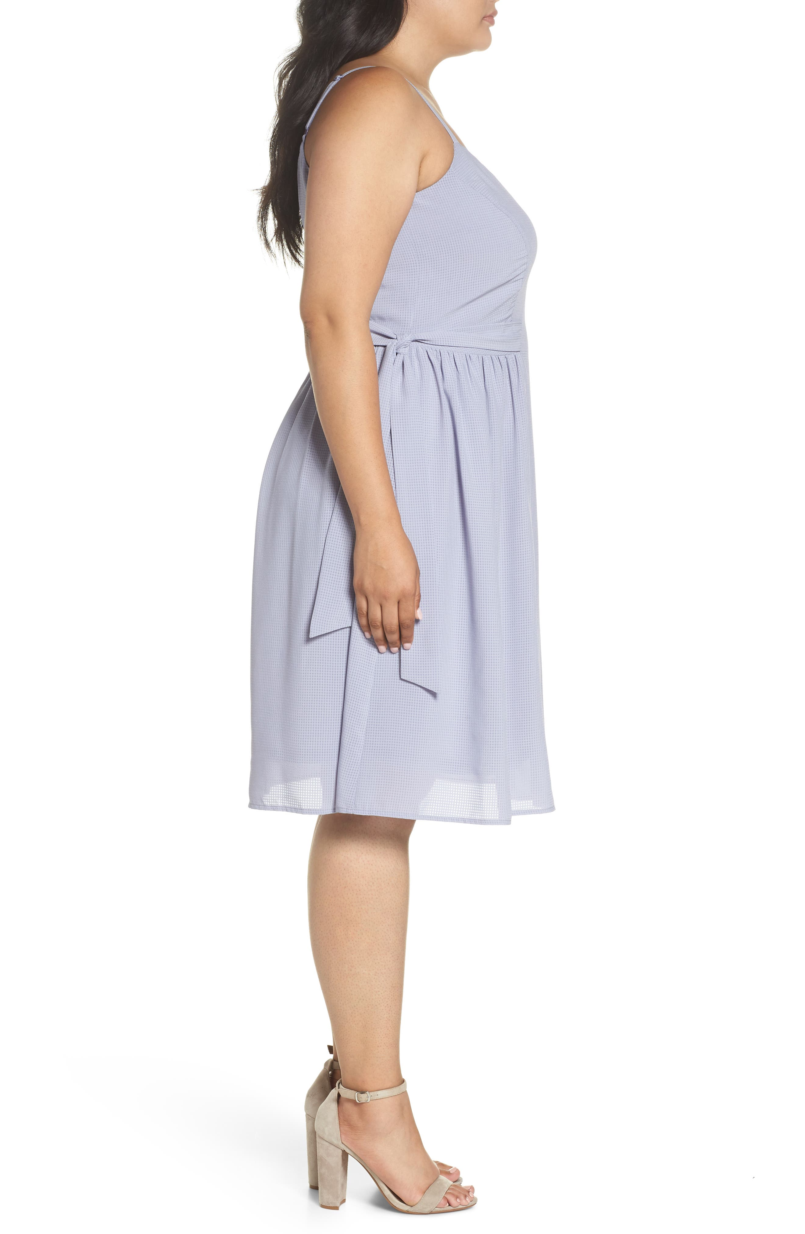 Side Tie Gathered Dress,                             Alternate thumbnail 3, color,                             Grey